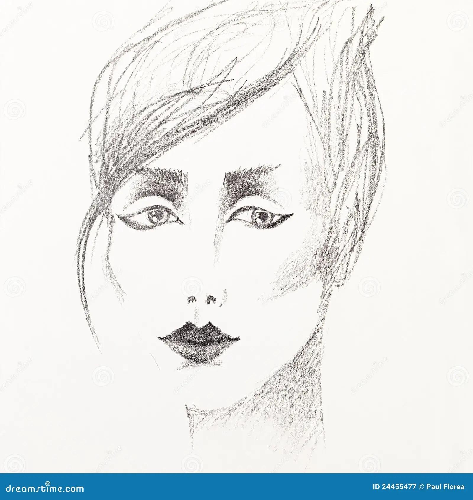 Croquis De Crayon Du Visage Du Beau Femme Photographie