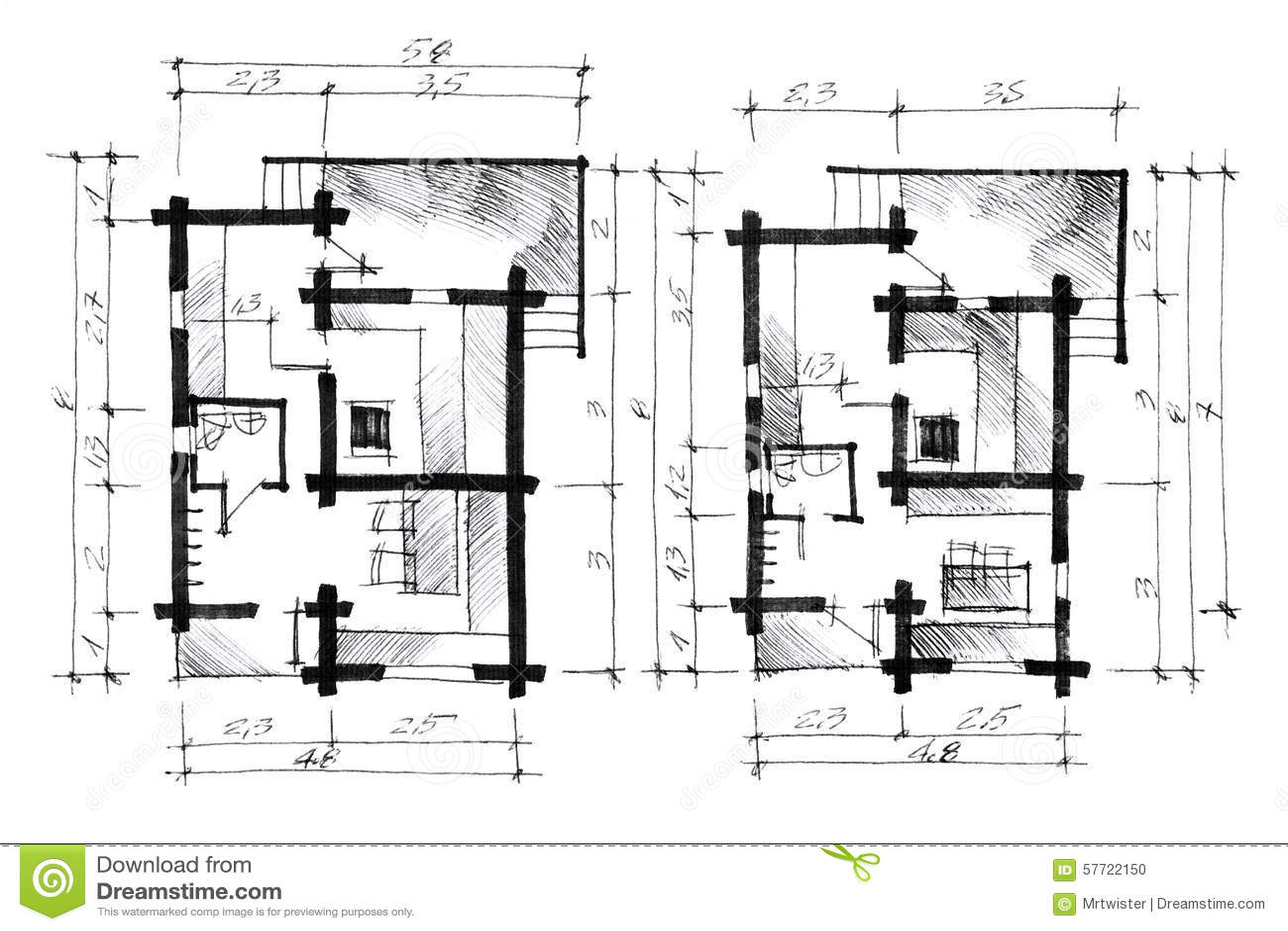 Croquis Monochrome D Un Plan De Maison Illustration Stock