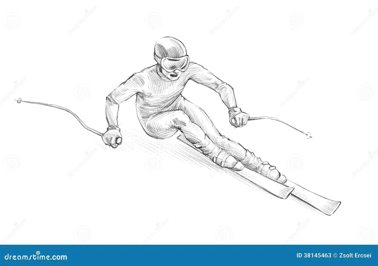 Croquis Tire Par La Main Illustration De Crayon D Un