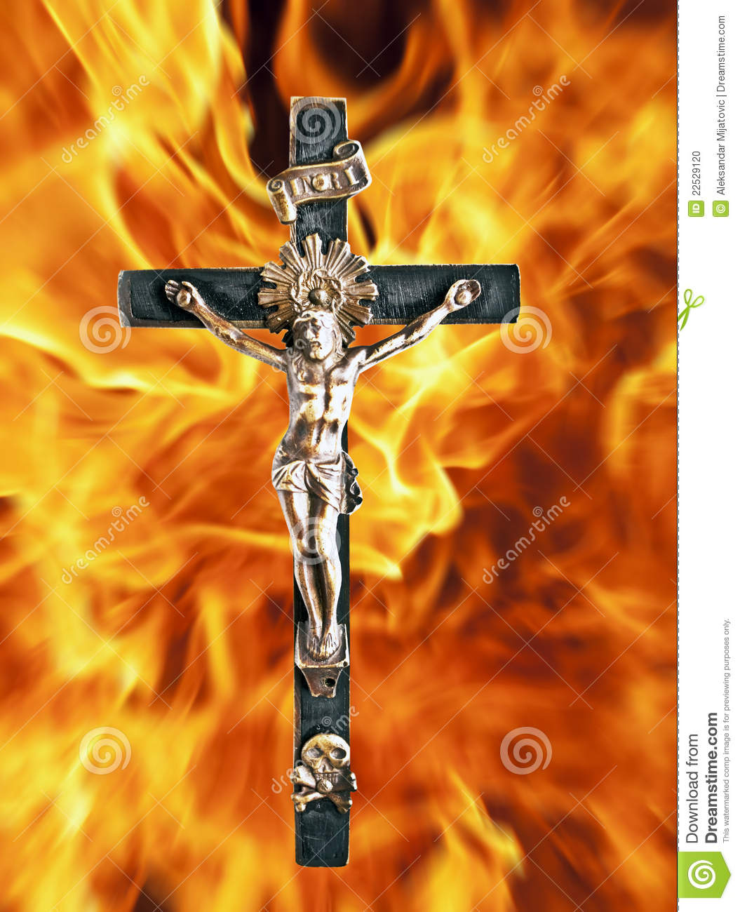Cross On Fire Stock Photo
