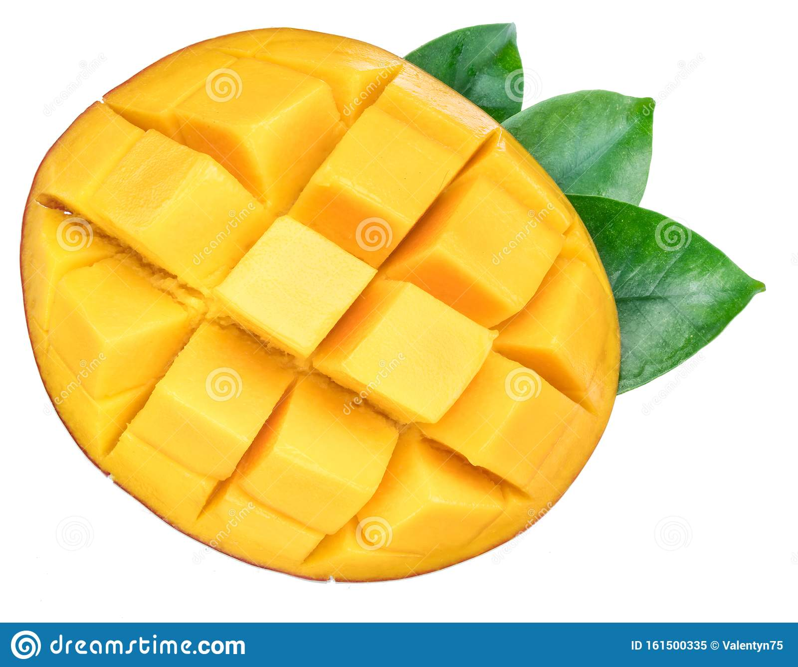Cross Section Of Mango Fruit Cut Into Cubes With A Leaf