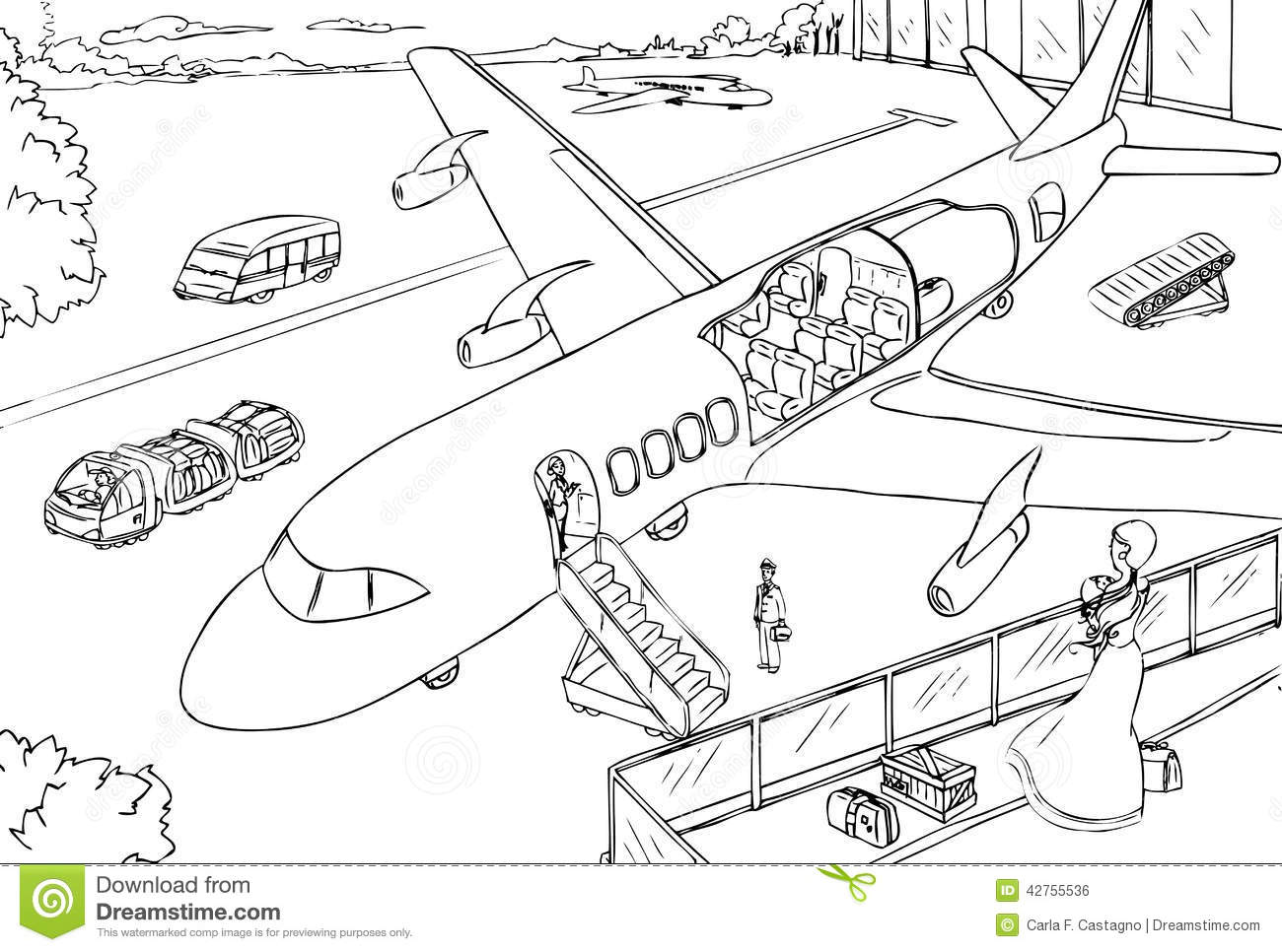 Cross Section Of Plane And Airport Vector Stock Vector