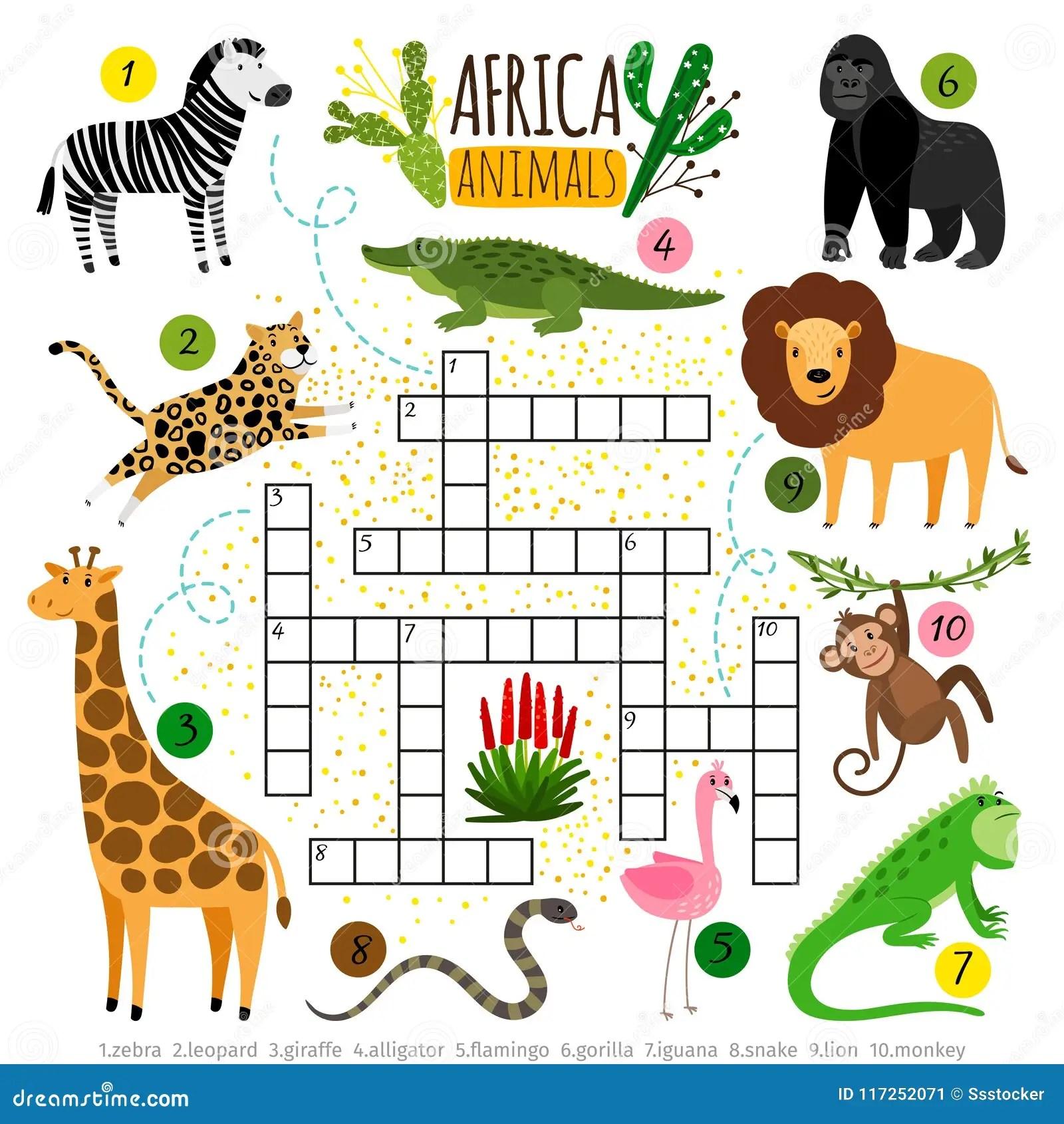 Crossword Africa Animals Kids Zoo African Crossword For