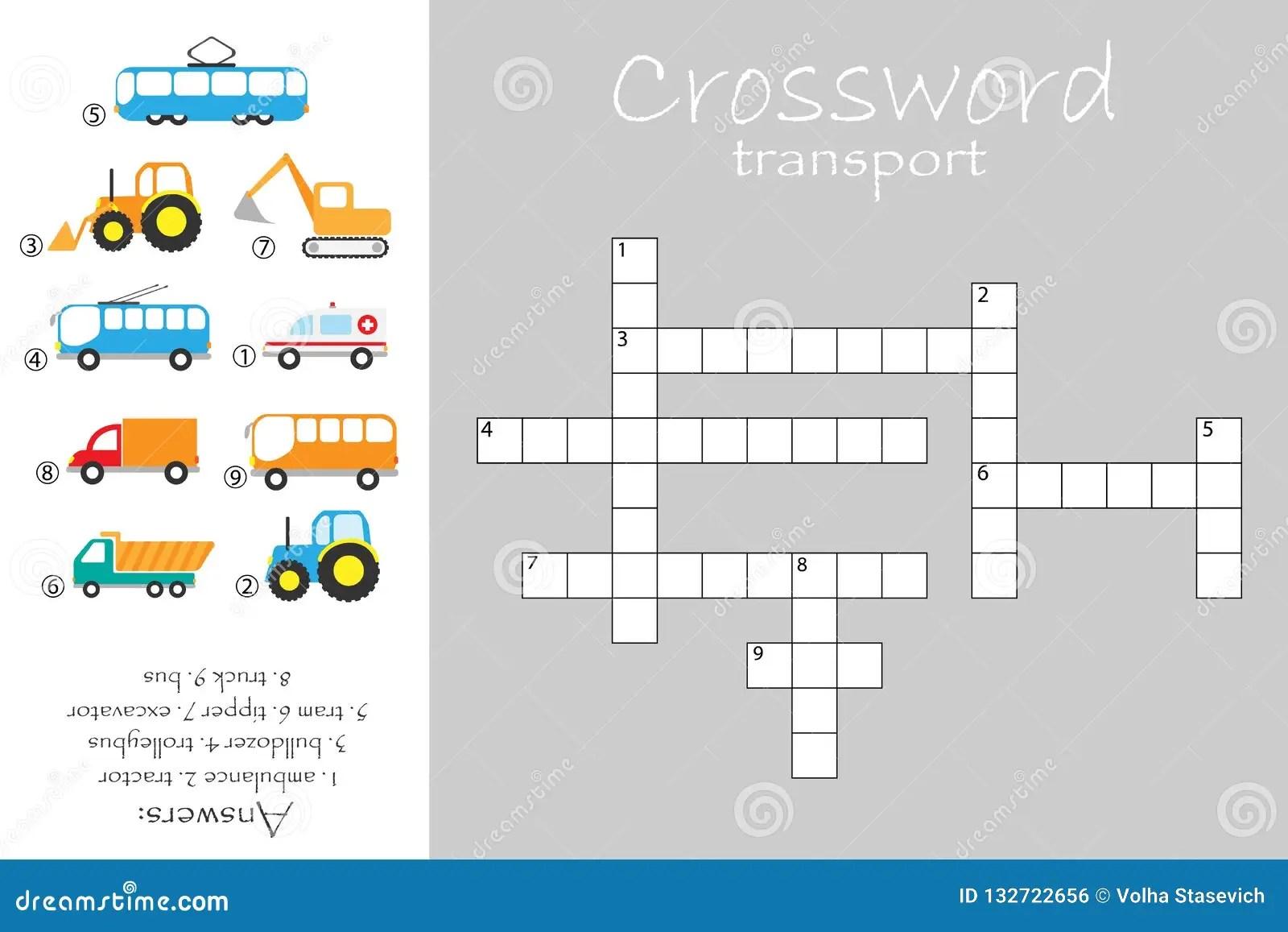 Crossword For Children Construction And Public Transport