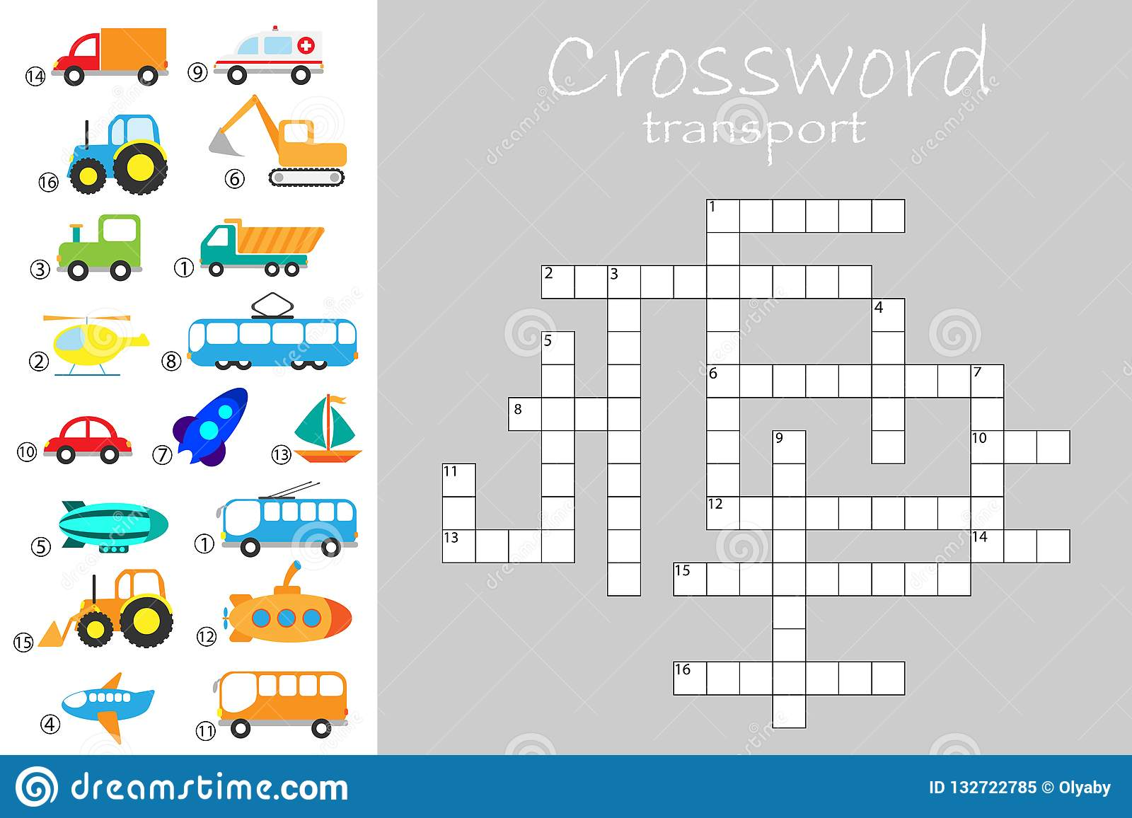 Crossword For Children Different Transport Theme Fun