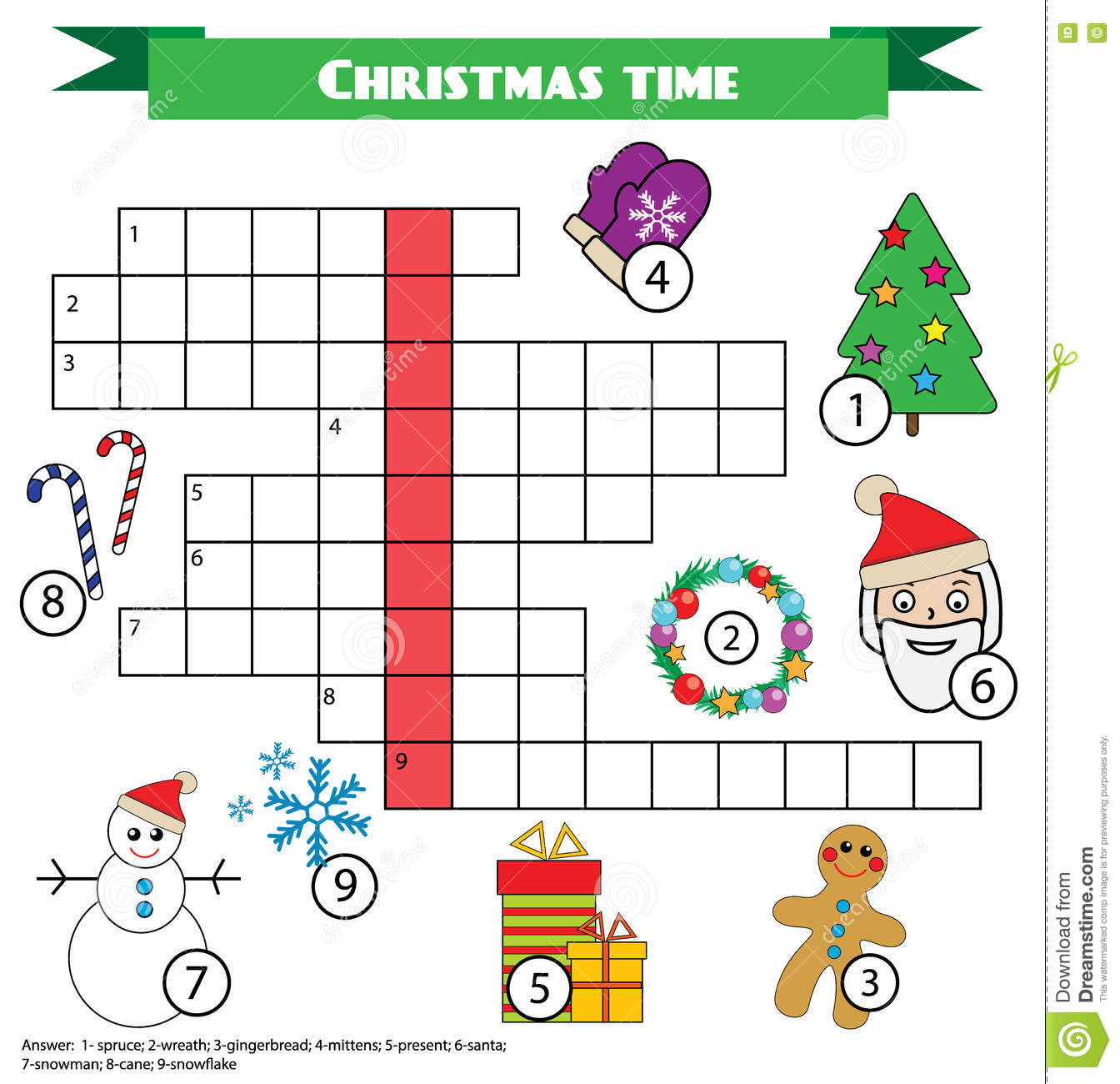 Crossword Educational Children Game With Answer Christmas Winter Theme Stock Vector