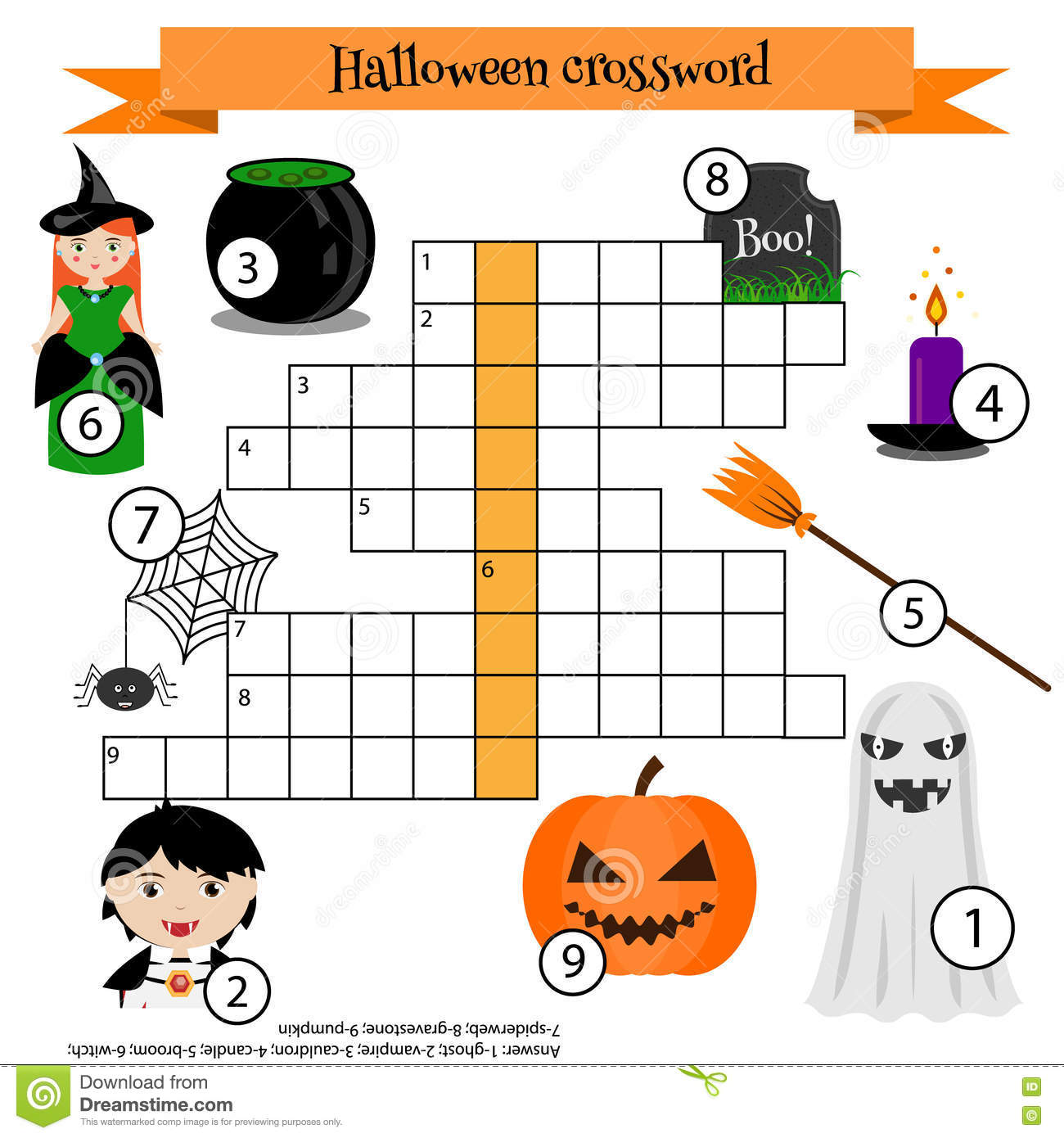 Crossword Educational Children Game With Answer Halloween Theme Stock Vector