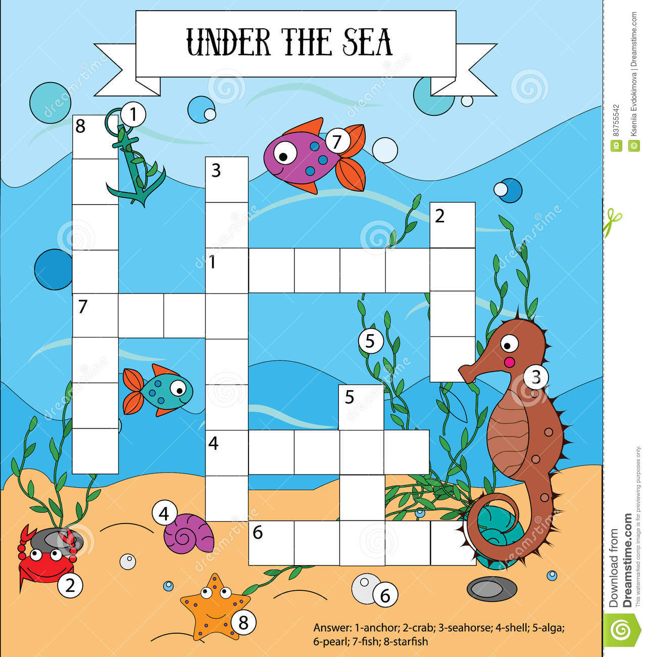 Crossword Educational Children Game With Answer Sea