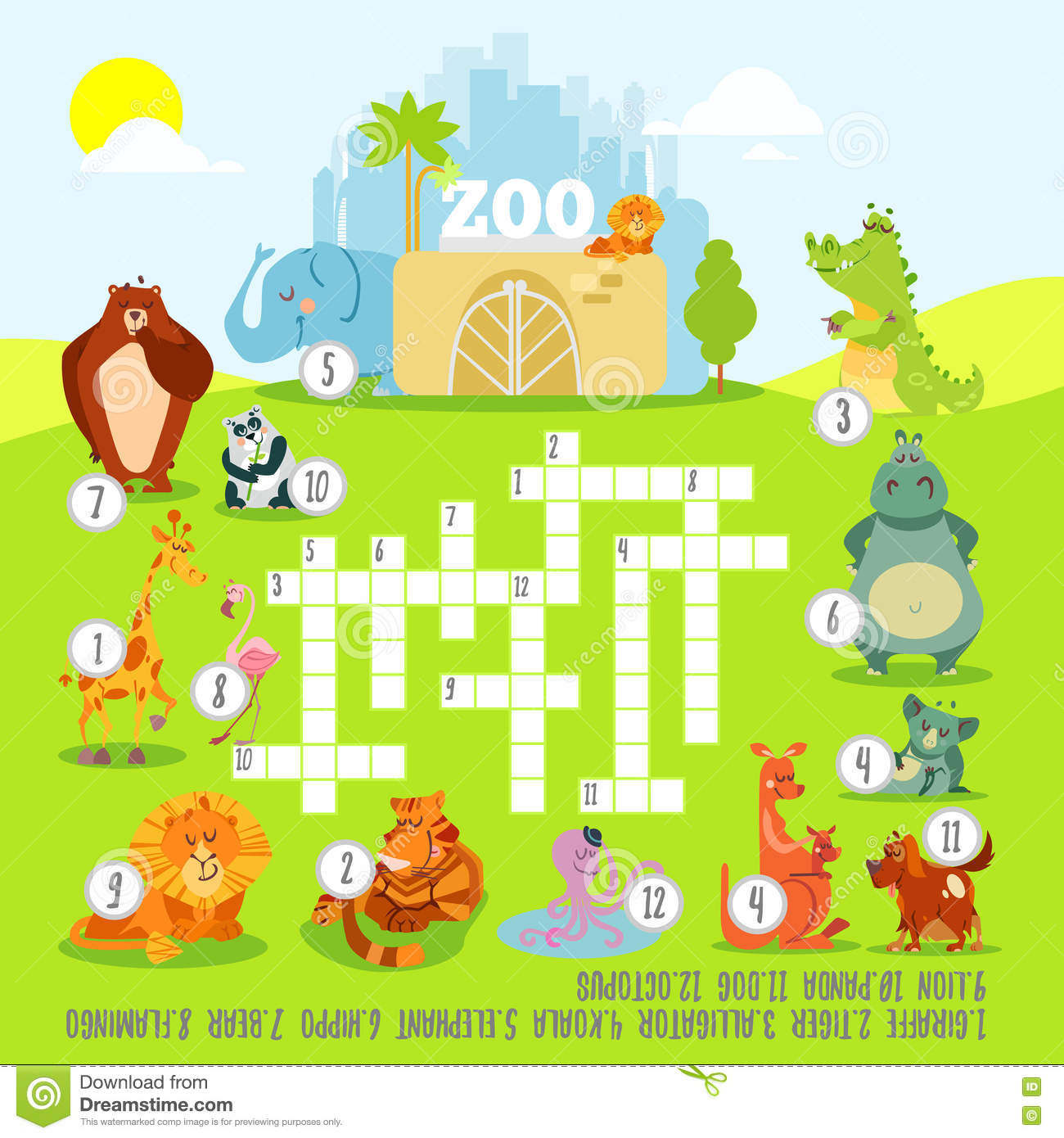 Crossword Game Concept About Zoo Animals Stock Vector