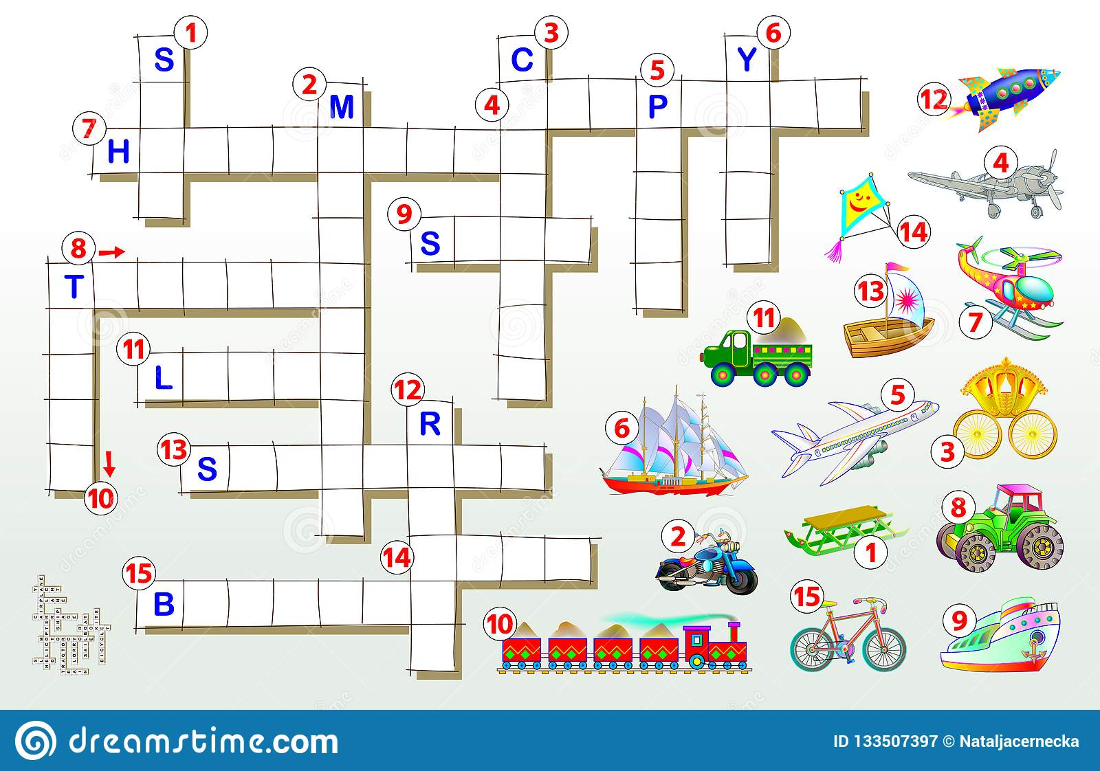 Crossword Puzzle Game With Transport Educational Page For Children For Study English Words