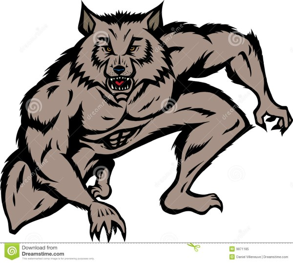 crouched werewolf royalty free