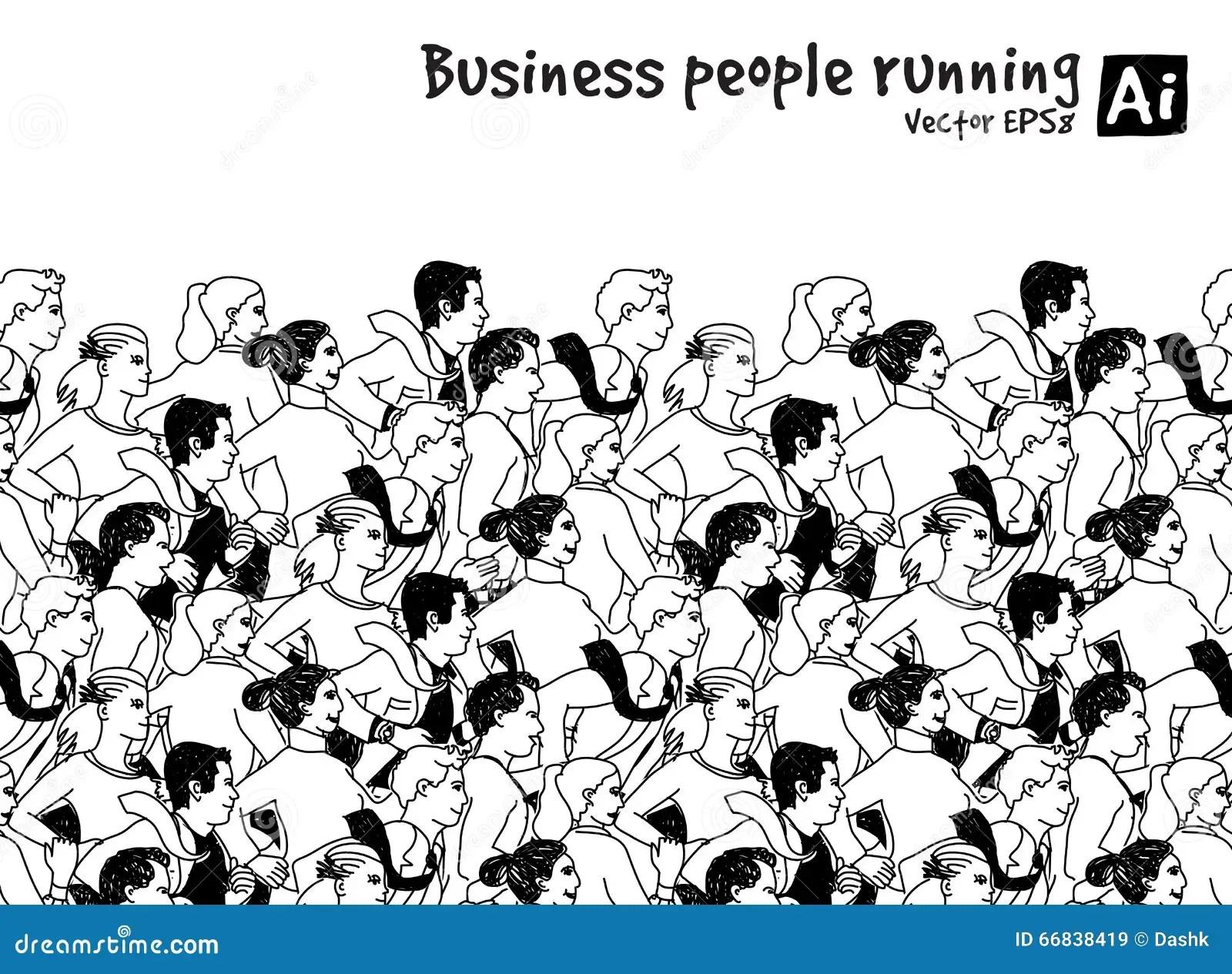 Crowd Business People Running Marathon Black And White