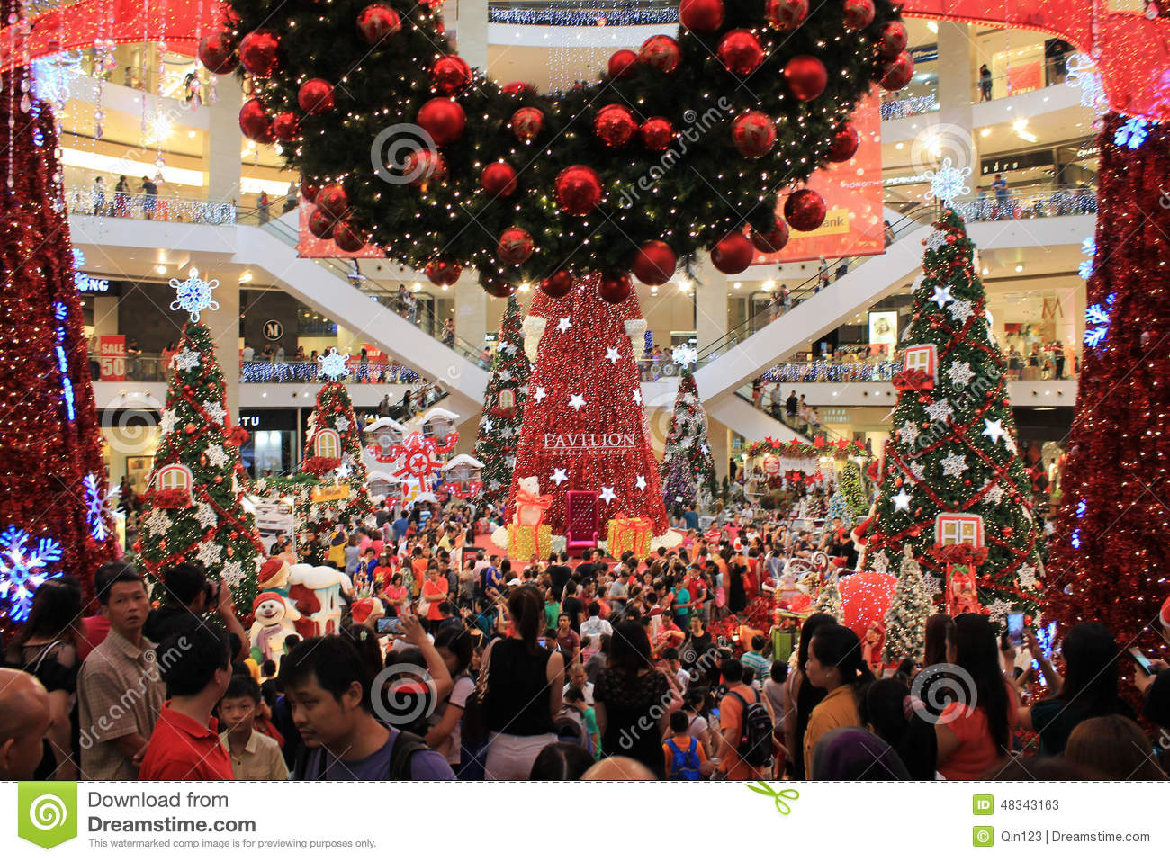 Crowds In Shopping Mall At Christmas Editorial Stock Photo