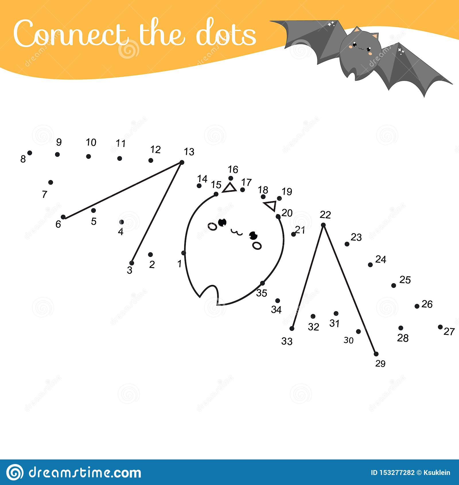 Crtoon Bat Connect The Dots Dot To Dot By Numbers