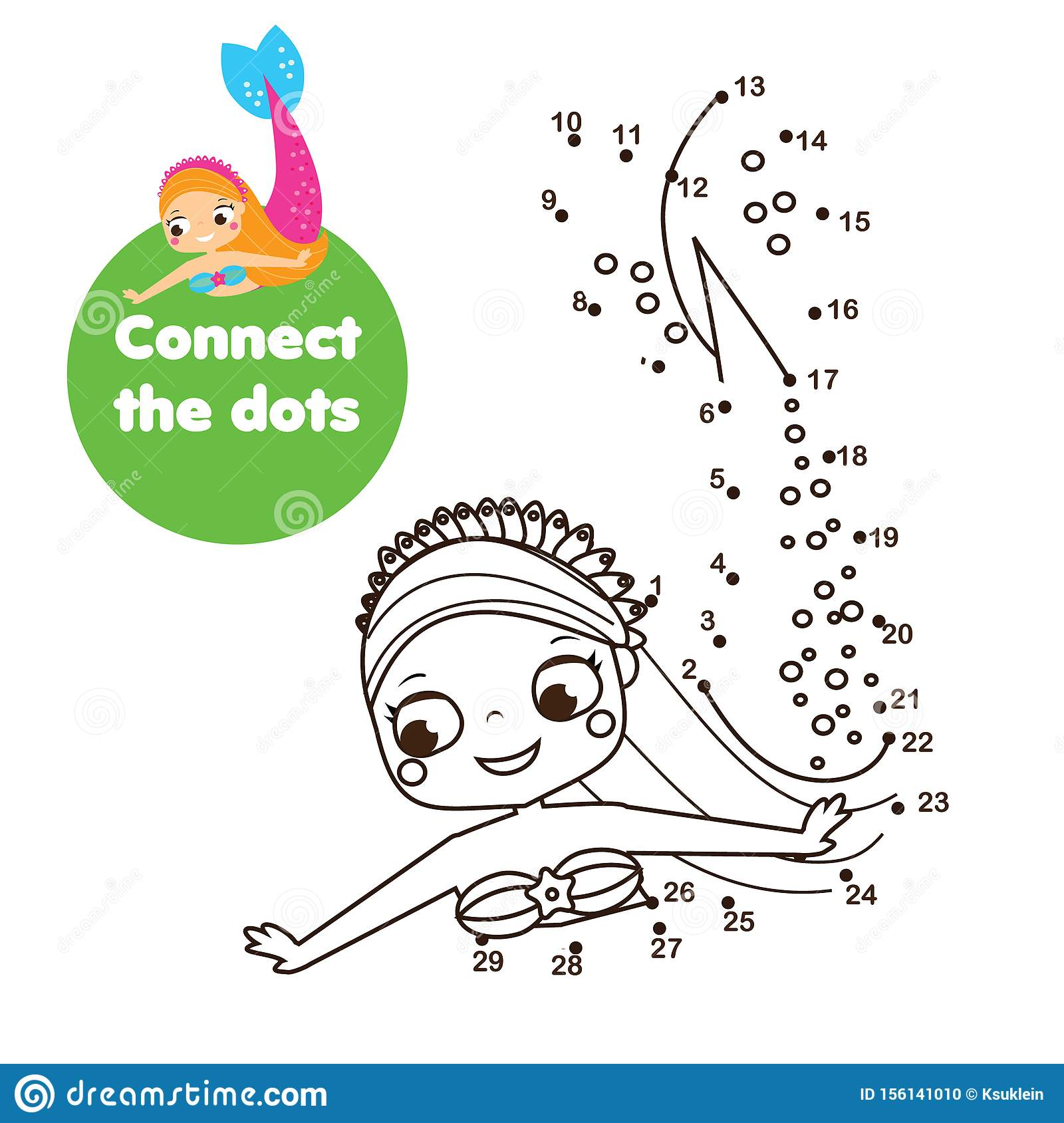 Crtoon Mermaid Connect The Dots Dot To Dot By Numbers