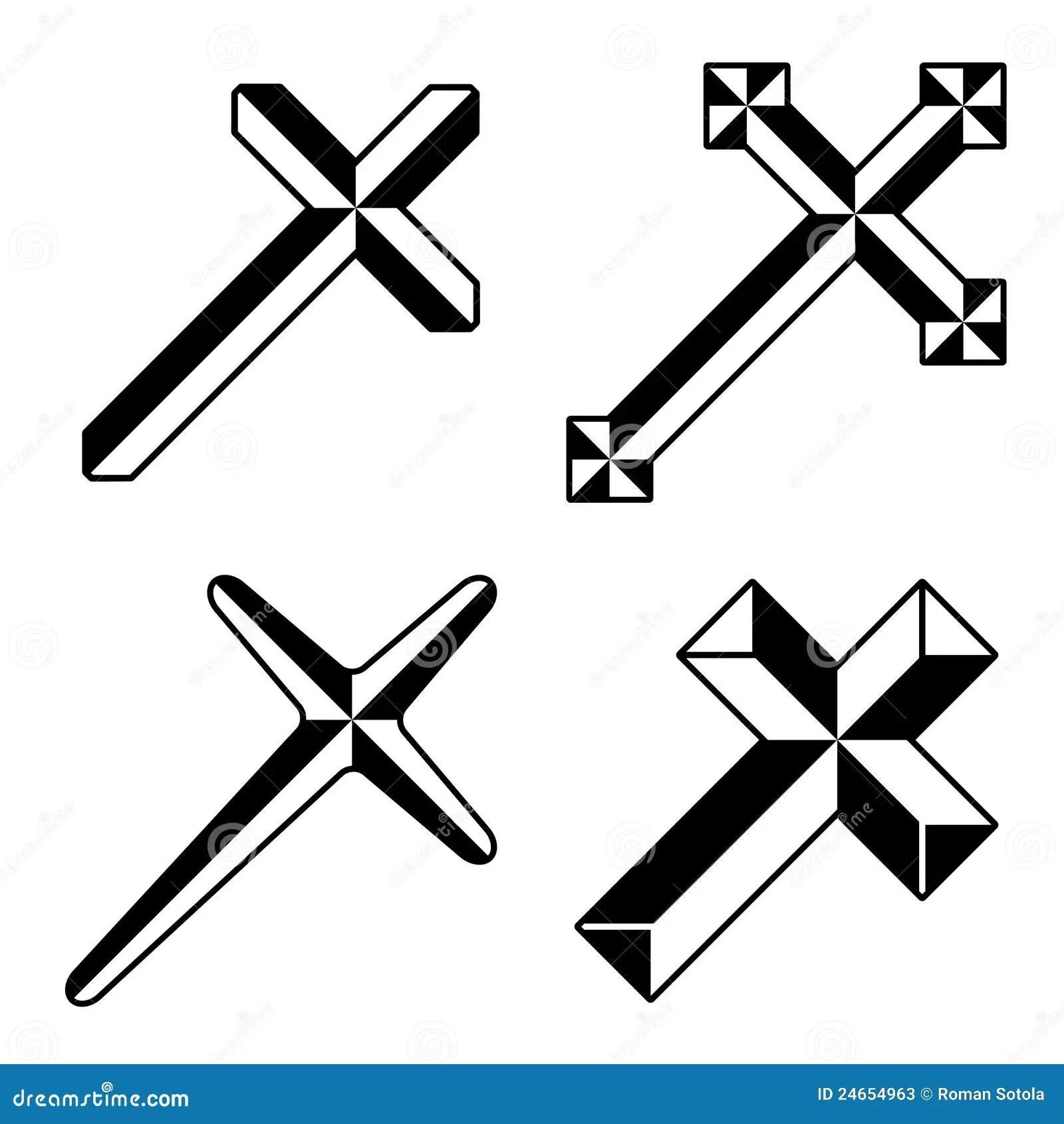 Cruces Cristianas Negras Ilustracion Del Vector