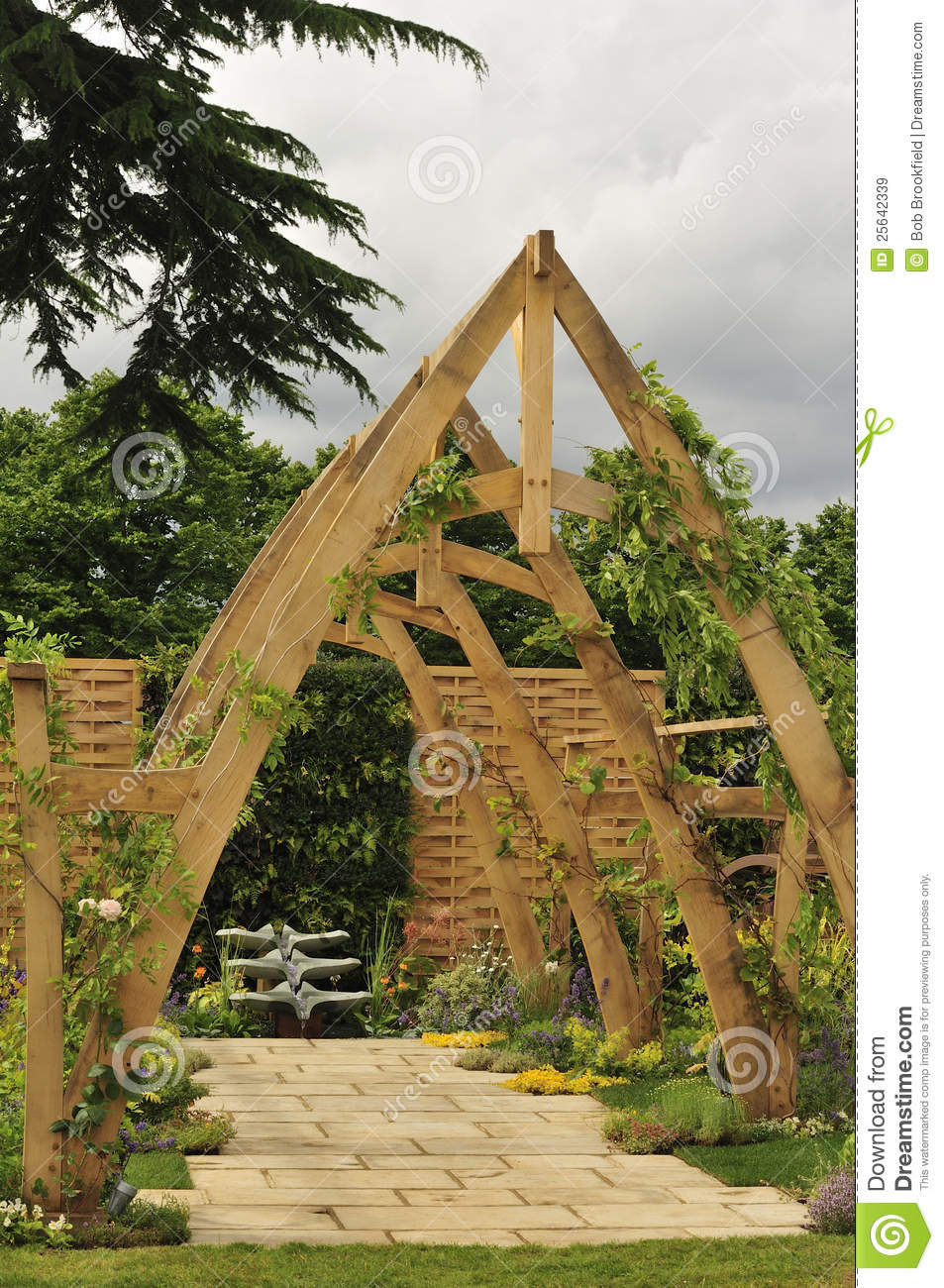 Cruck Frame Pergola Stock Image Image Of Arbour Timber