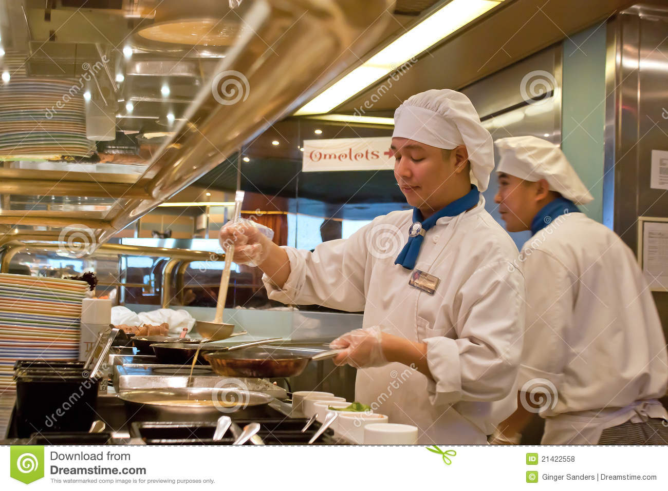 work station kitchen hand towels for the cruise ship cooks working editorial stock photo - image ...