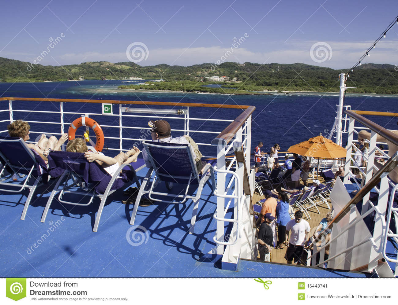 Cruise Ship  Deck Chairs And Island Views Editorial Photo