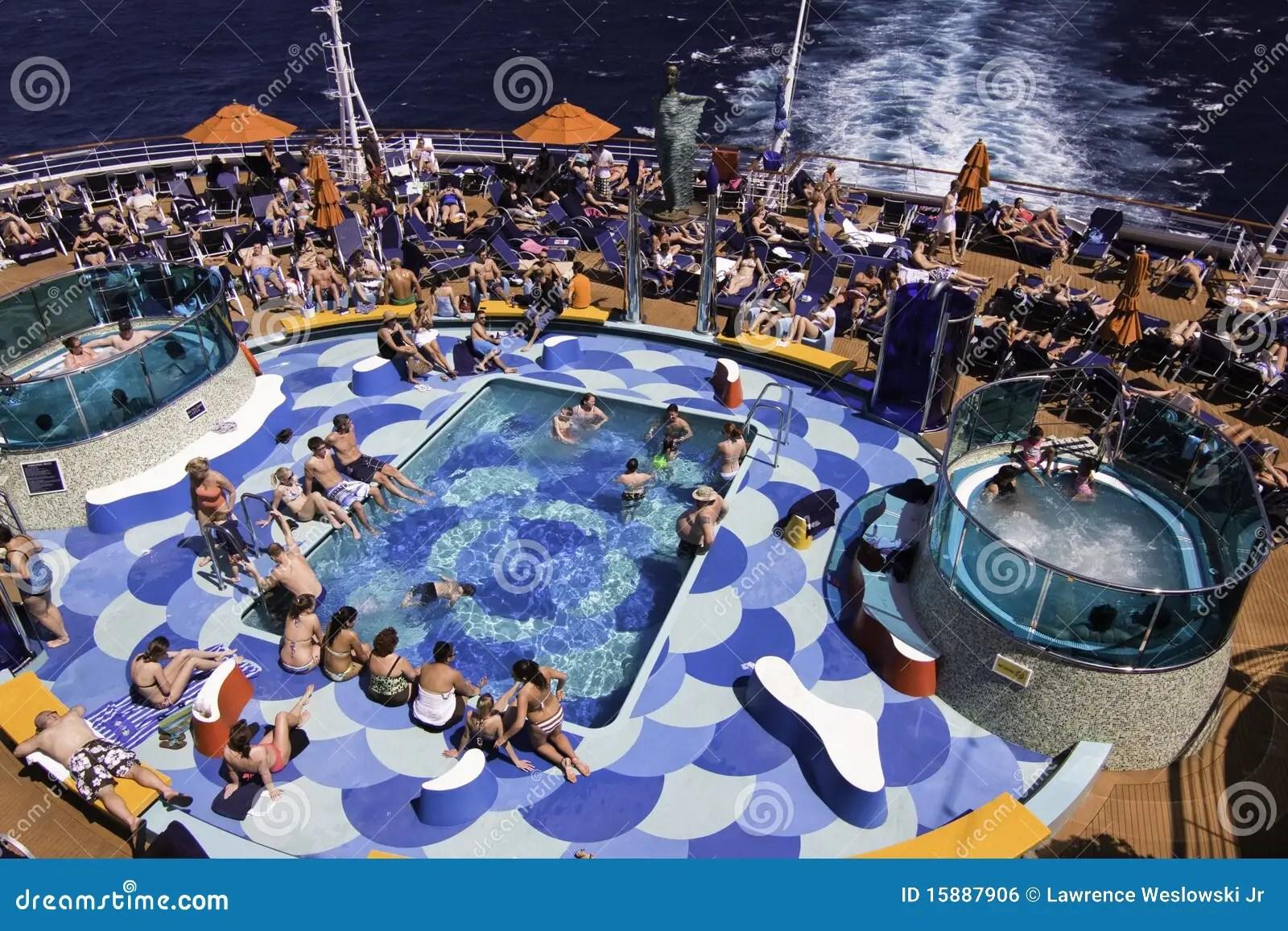 Cruise Ship Fun  Pool Hot Tub Sunbathing Editorial Photo