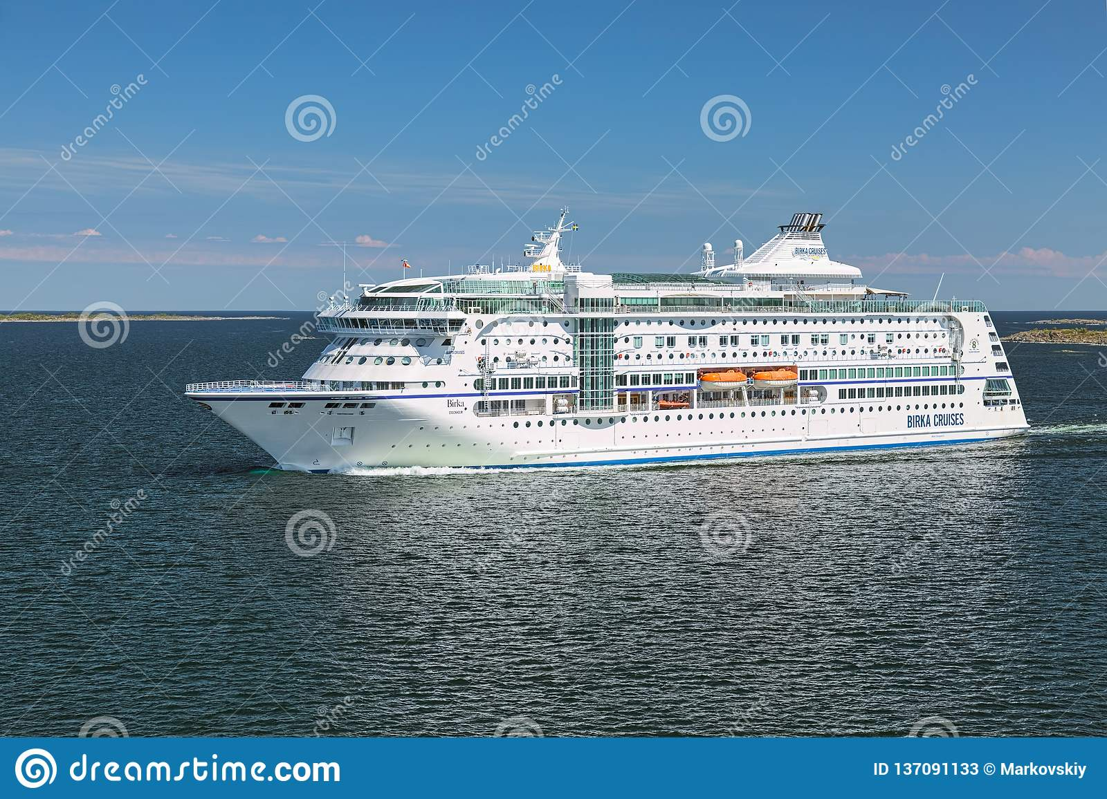 Cruise Ship MS Birka Stockholm At The Entrance To Stockholm Archipelago. Sweden Editorial Stock Photo - Image of baltic. summer: 137091133