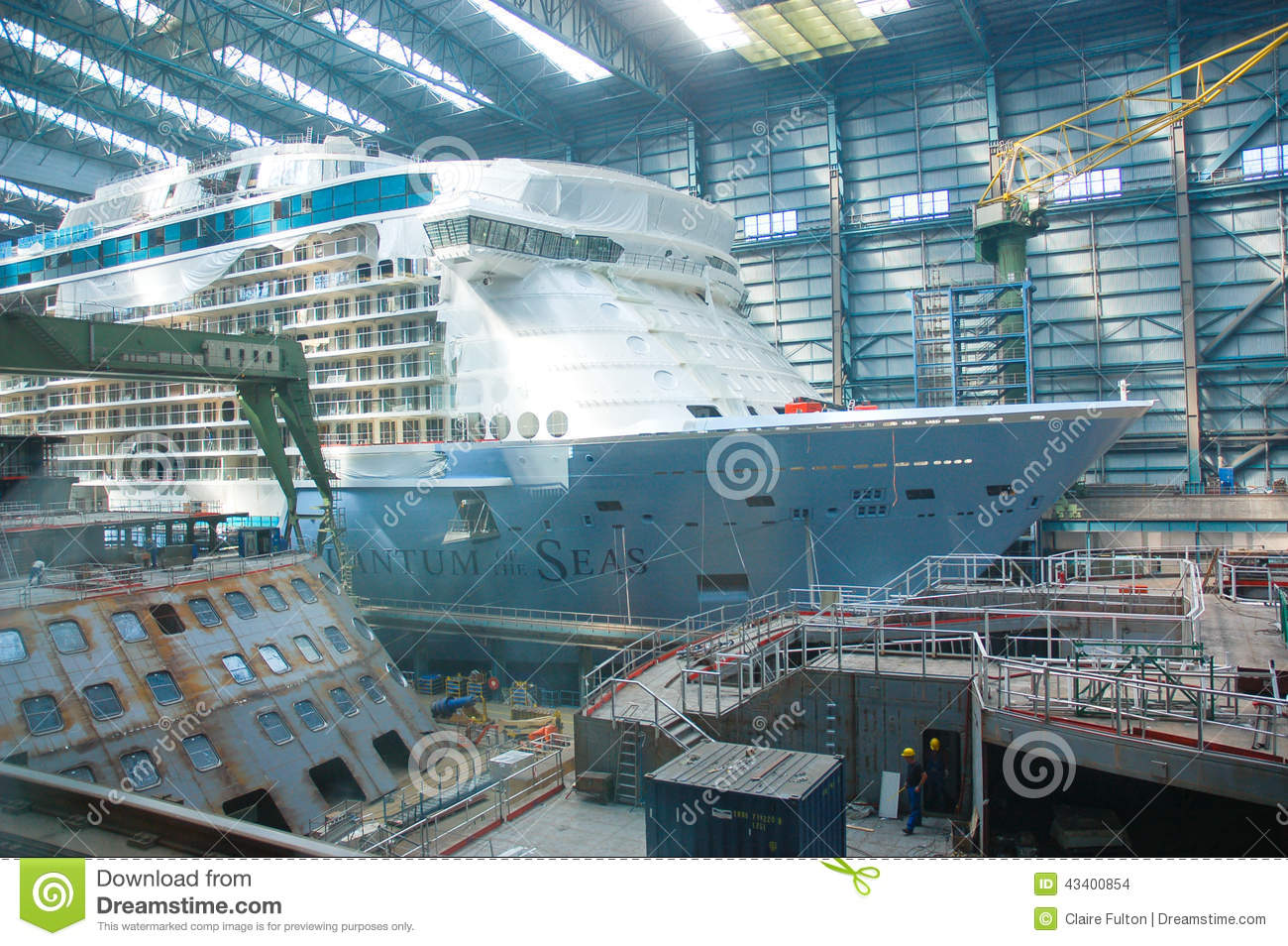 hight resolution of cruise ship under construction