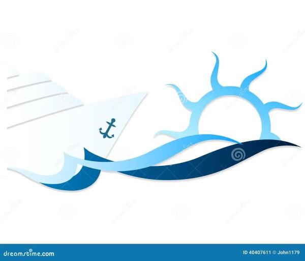 Cruise Ship Waves Stock Vector - 40407611
