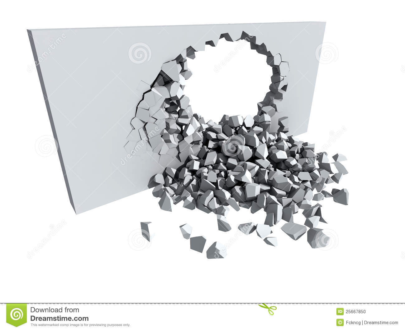 Crumbling Concrete Wall With Hole Stock Illustration  Illustration of cracking cascading 25667850