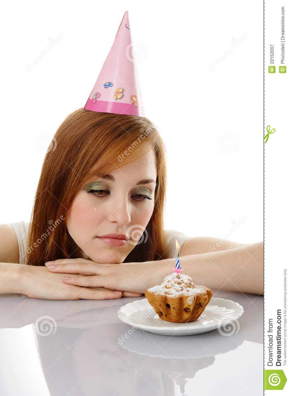 Cry Girl With Birthday Cake Stock Image Image Of