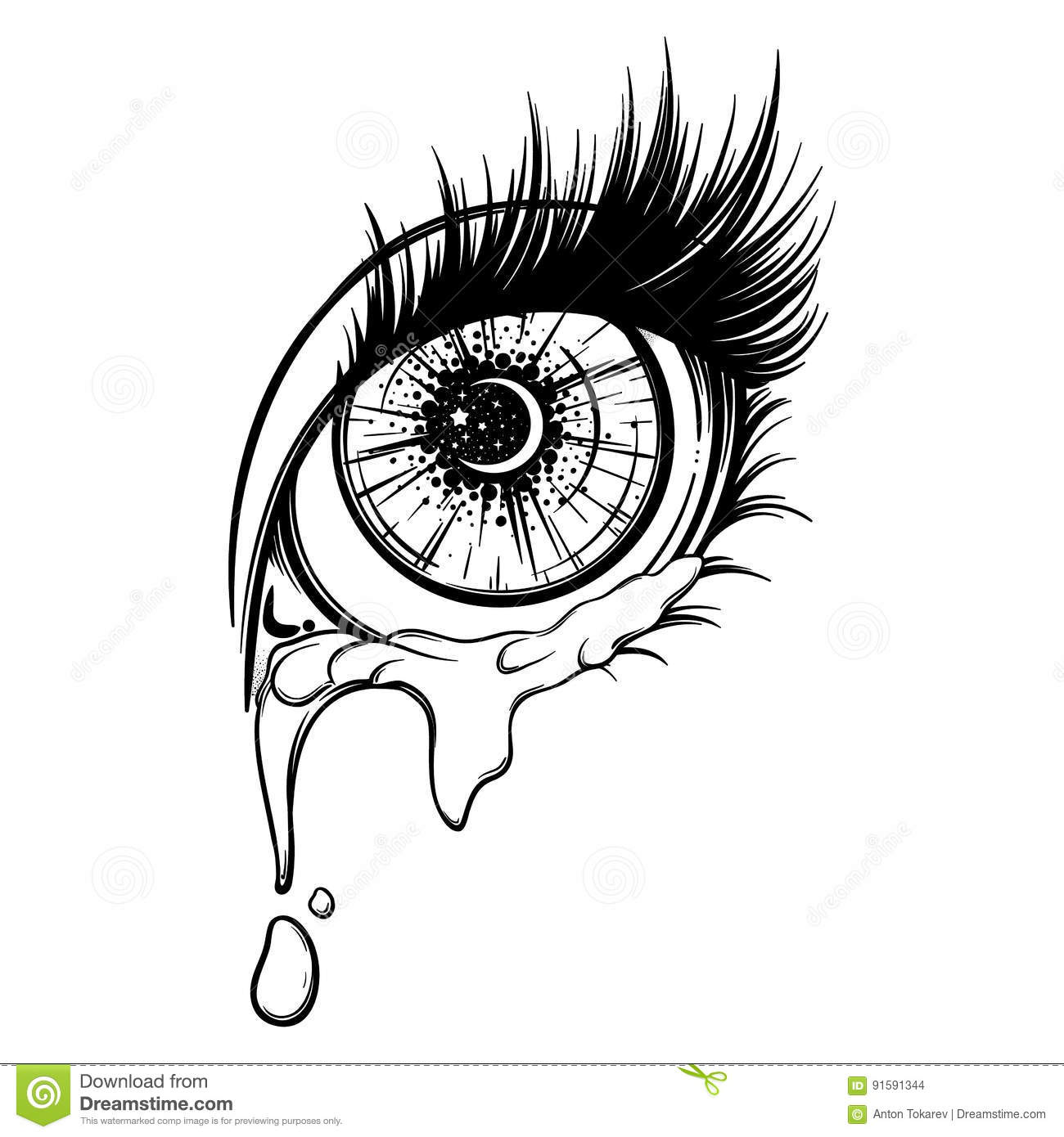Crying Eye In Anime Or Manga Style With Teardrops And