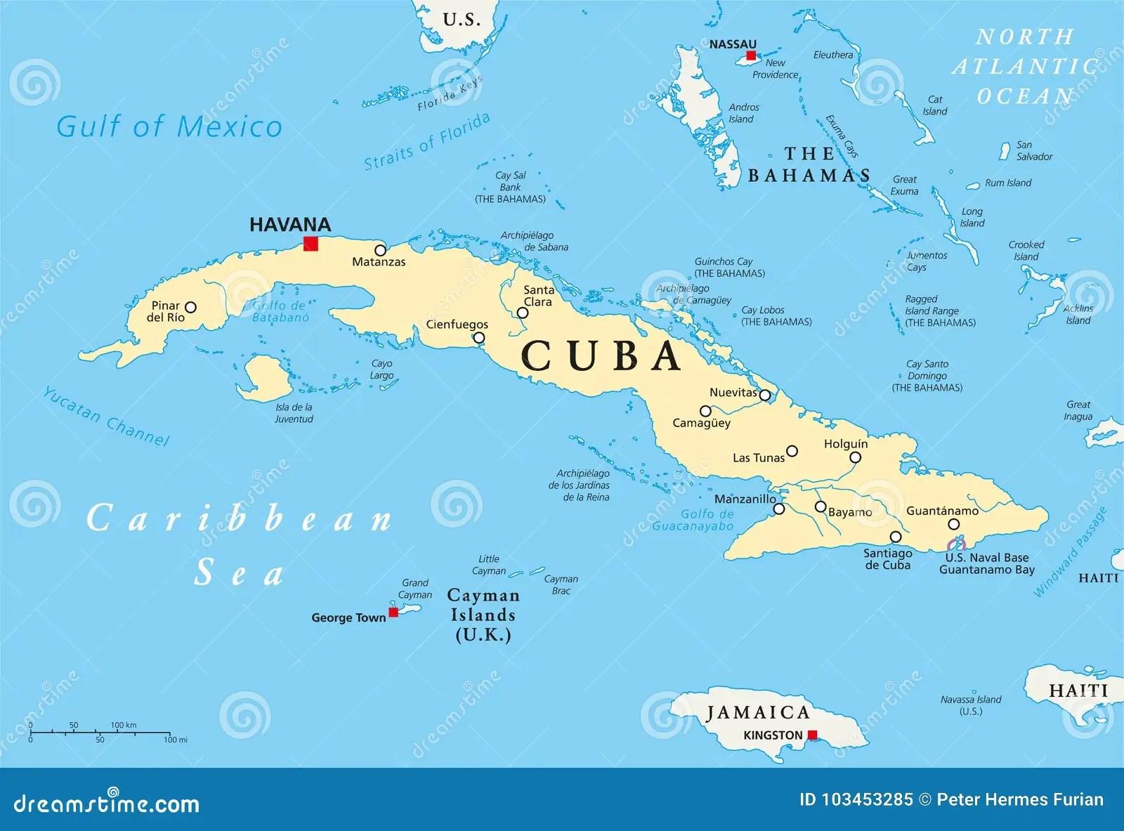Cuba Political Map Stock Vector Illustration Of