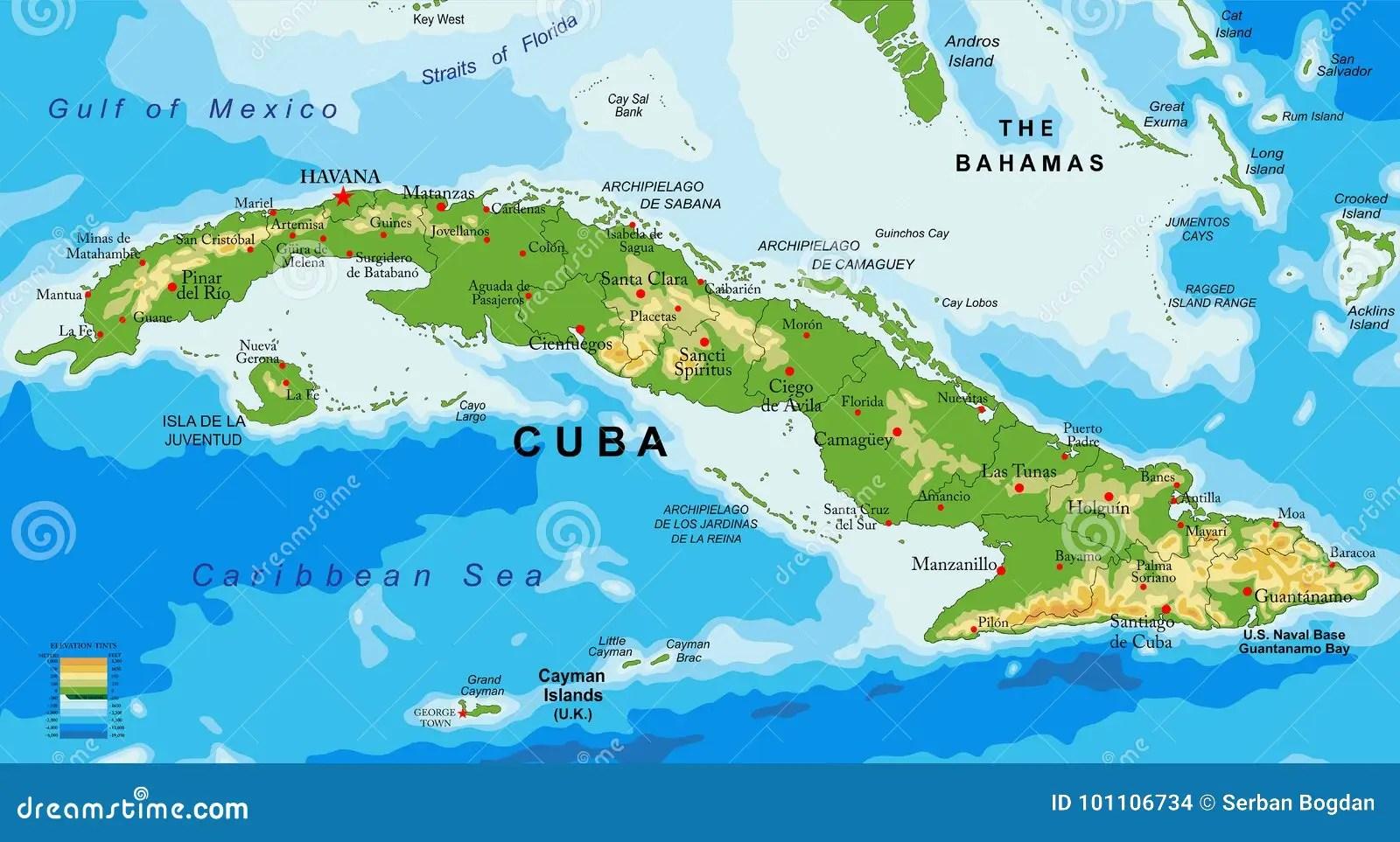 Cuba Relief Map Stock Vector Illustration Of Matanzas