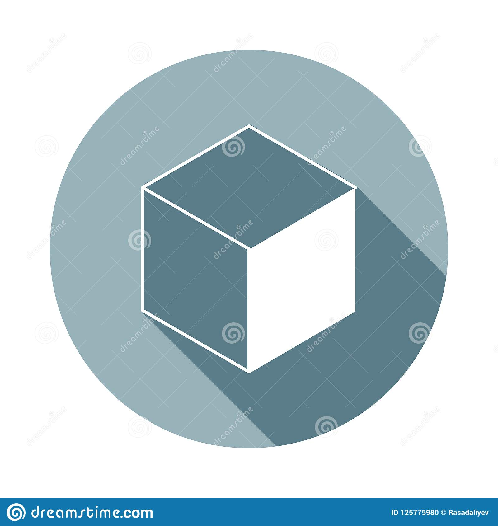 Cube Icon In Flat Long Shadow Style One Of Web Collection