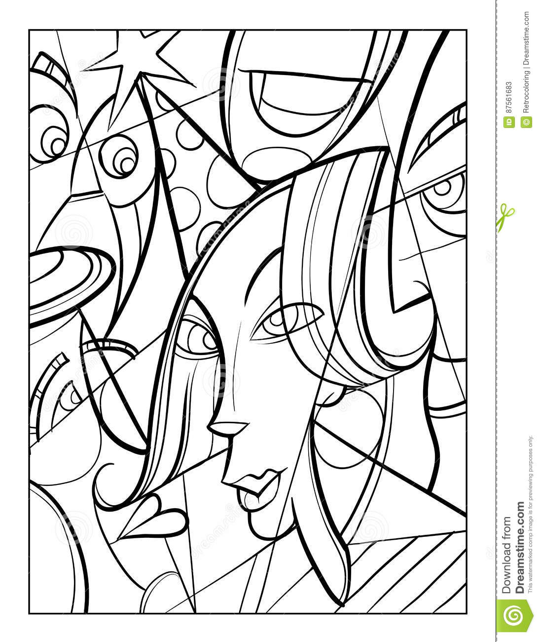 Cubist Faces Fun Coloring Page Stock Vector