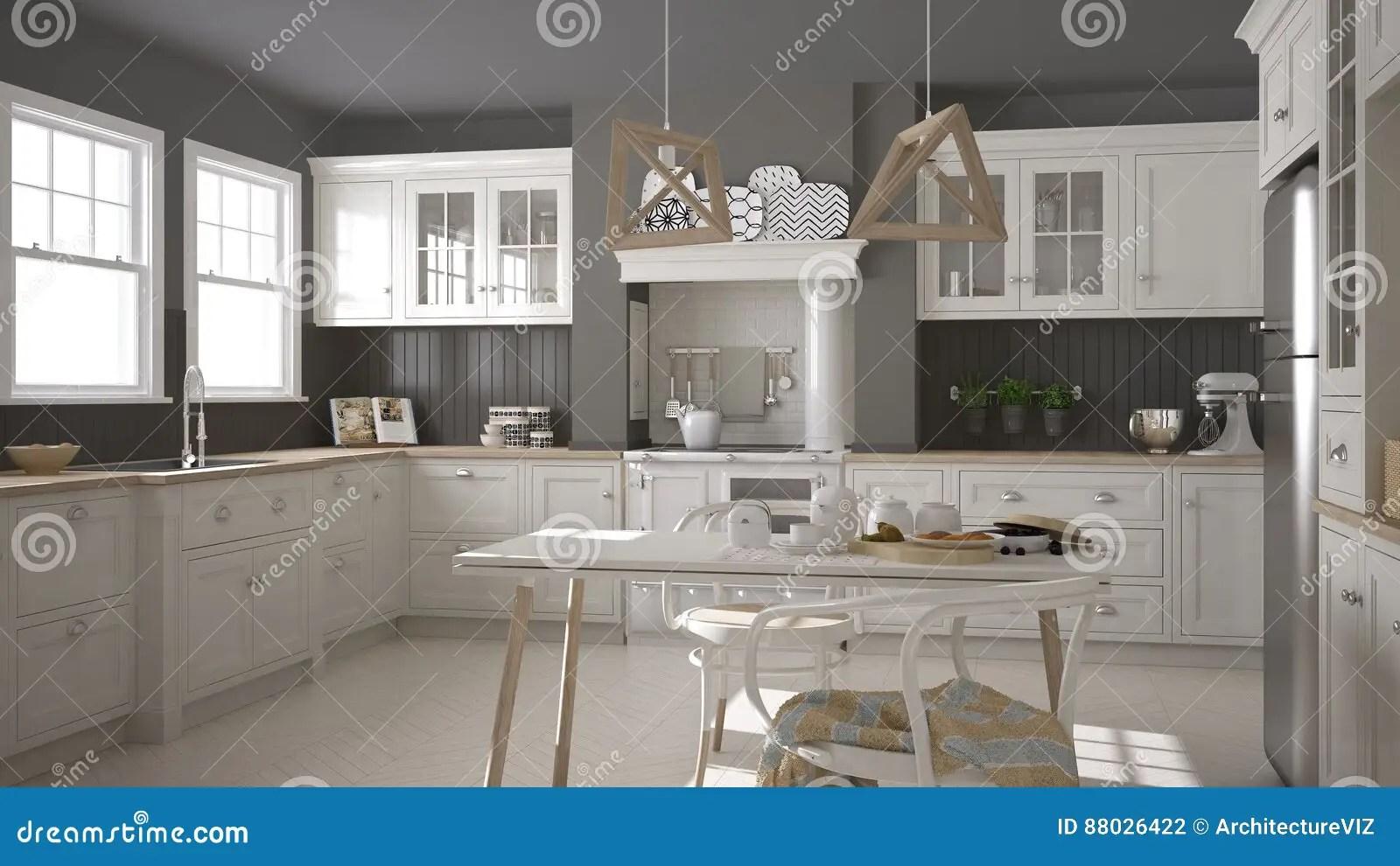 Cucina Bianca Classica | Centro Isola Con Montati Apparecchi E ...