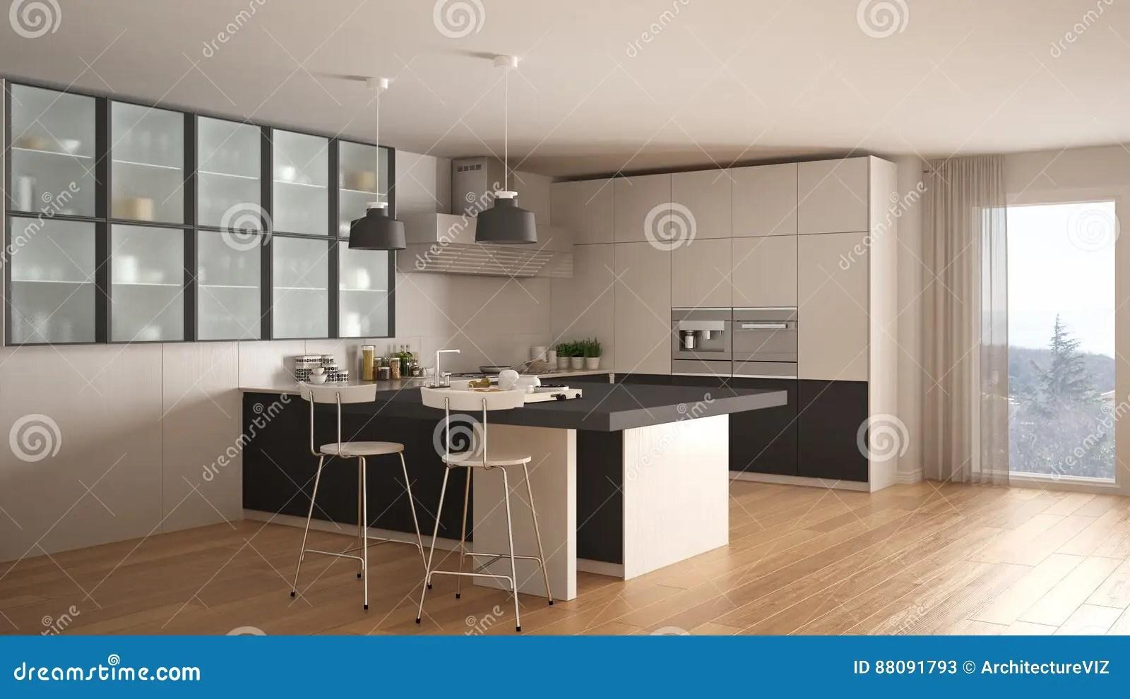 Cucina grigia e bianca cucina moderna con la pavimentazione in