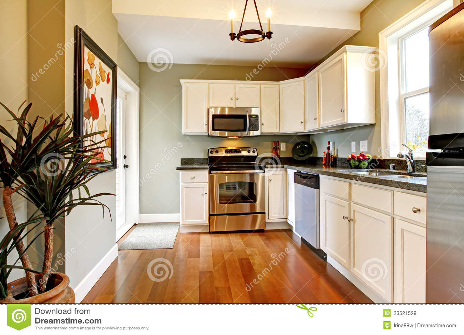 Cucina Bianca E Verde Elegante Con Il Pavimento Della Ciliegia Fotografia Stock  Immagine di