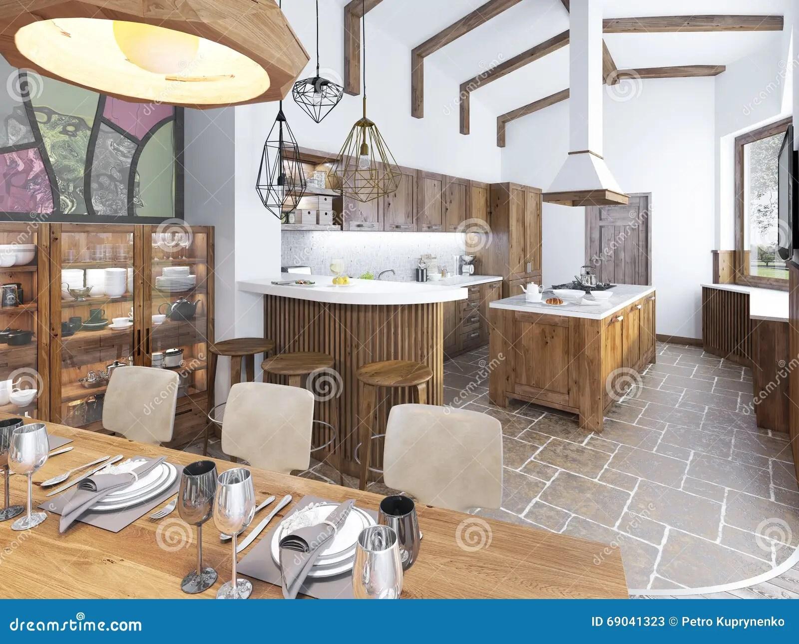 Cucina E Sala Da Pranzo Moderne Nel Sottotetto Fotografia Stock  Immagine 69041323