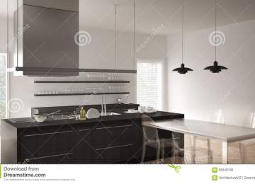 Pavimento Cucina Moderna   Cucina Moderna Con Il Pavimento Grigio E ...