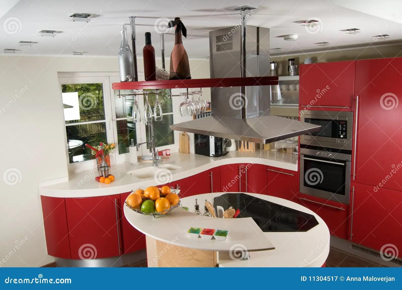 Cucina rossa piastrelle cucina moderna con penisola cucine a