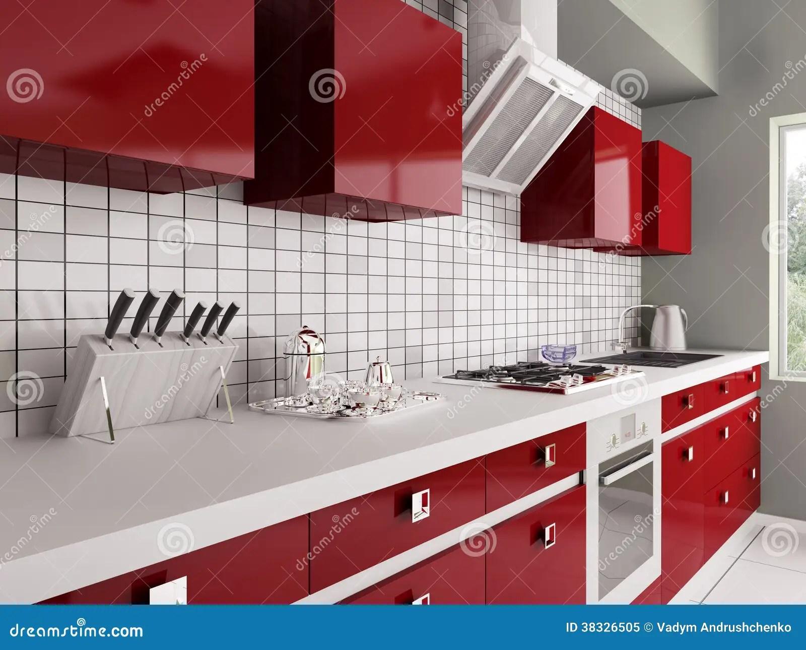 Cucina Rossa Moderna 3d Interno Illustrazione di Stock  Illustrazione 38326505