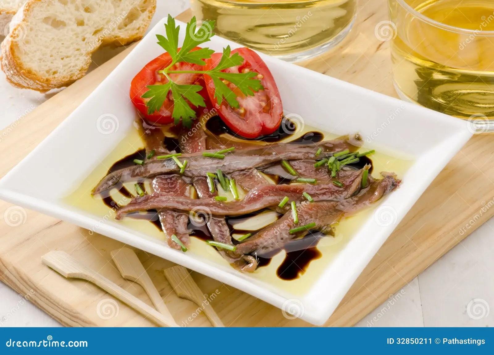 Cucina Spagnola Acciughe Marinate Aceite Dellen Di