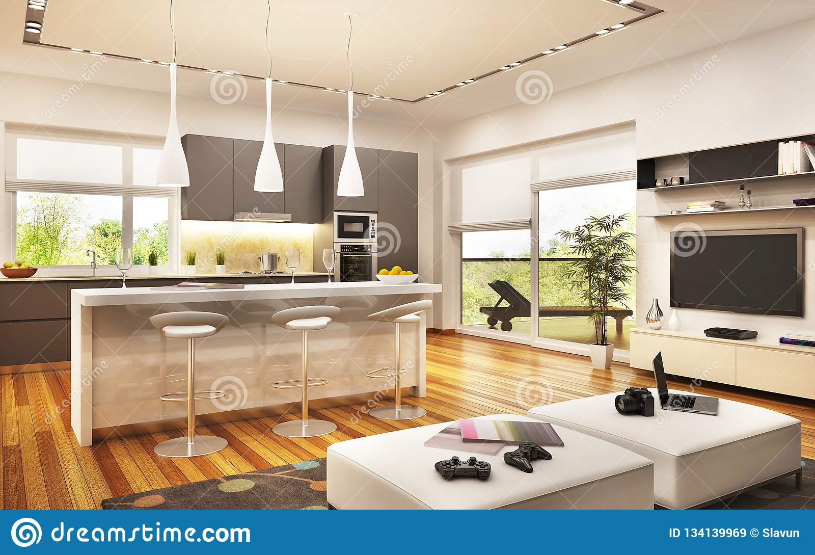 https fr dreamstime com cuisine moderne conception salon image134139969