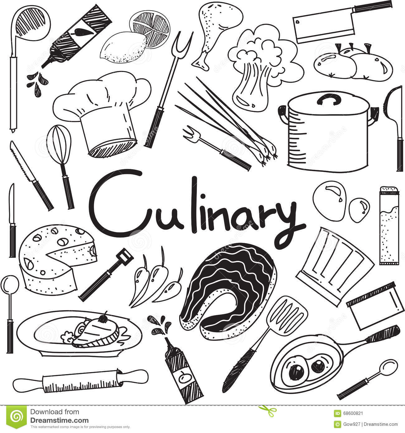 Culinary And Cooking Doodle Of Food Ingredients And Tool