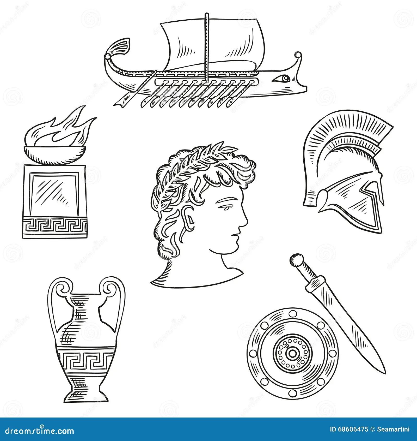 Culture Symbols Of Ancient Greece Stock Vector