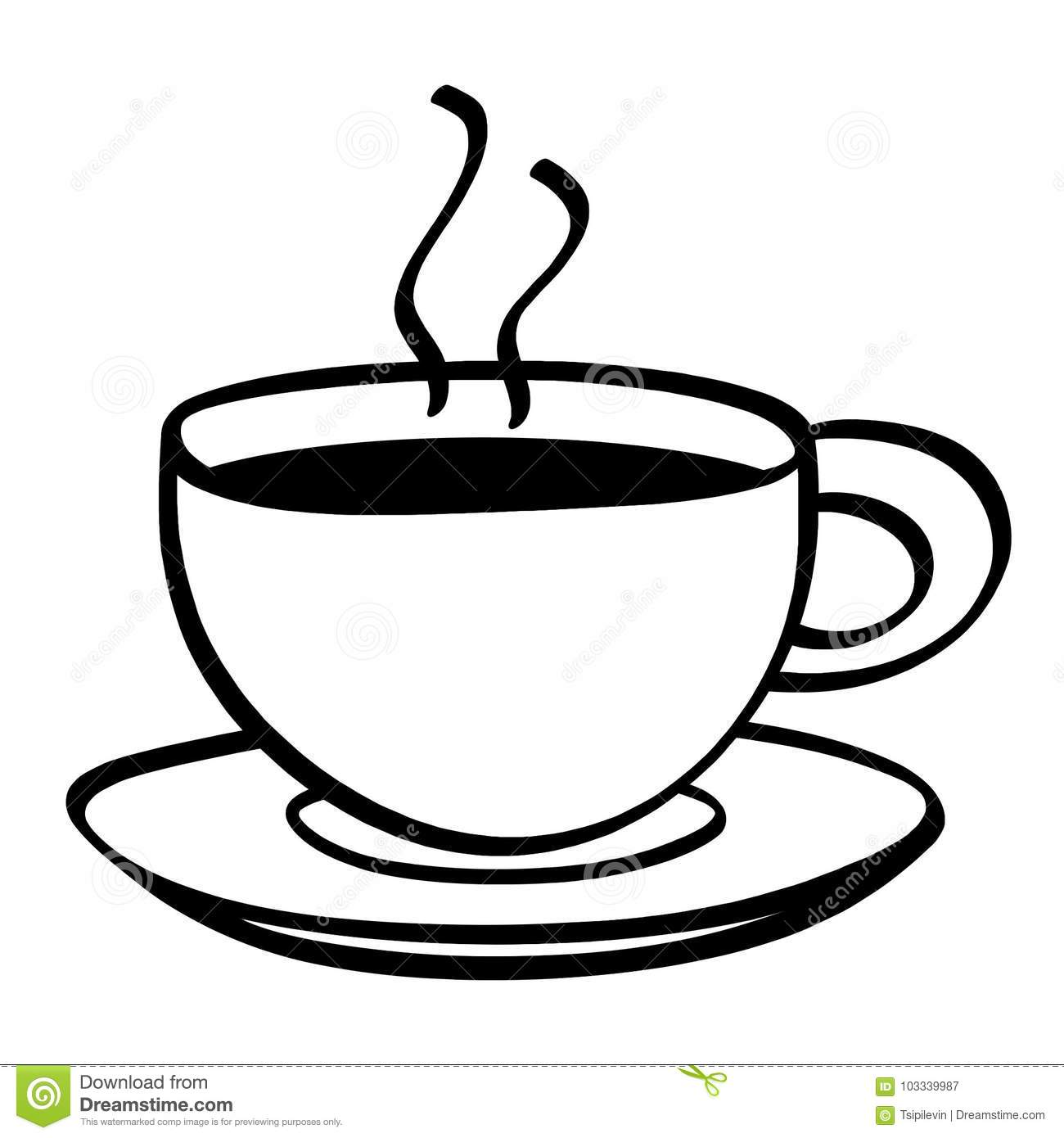 Cup Of Coffee Black And White Illustration Stock