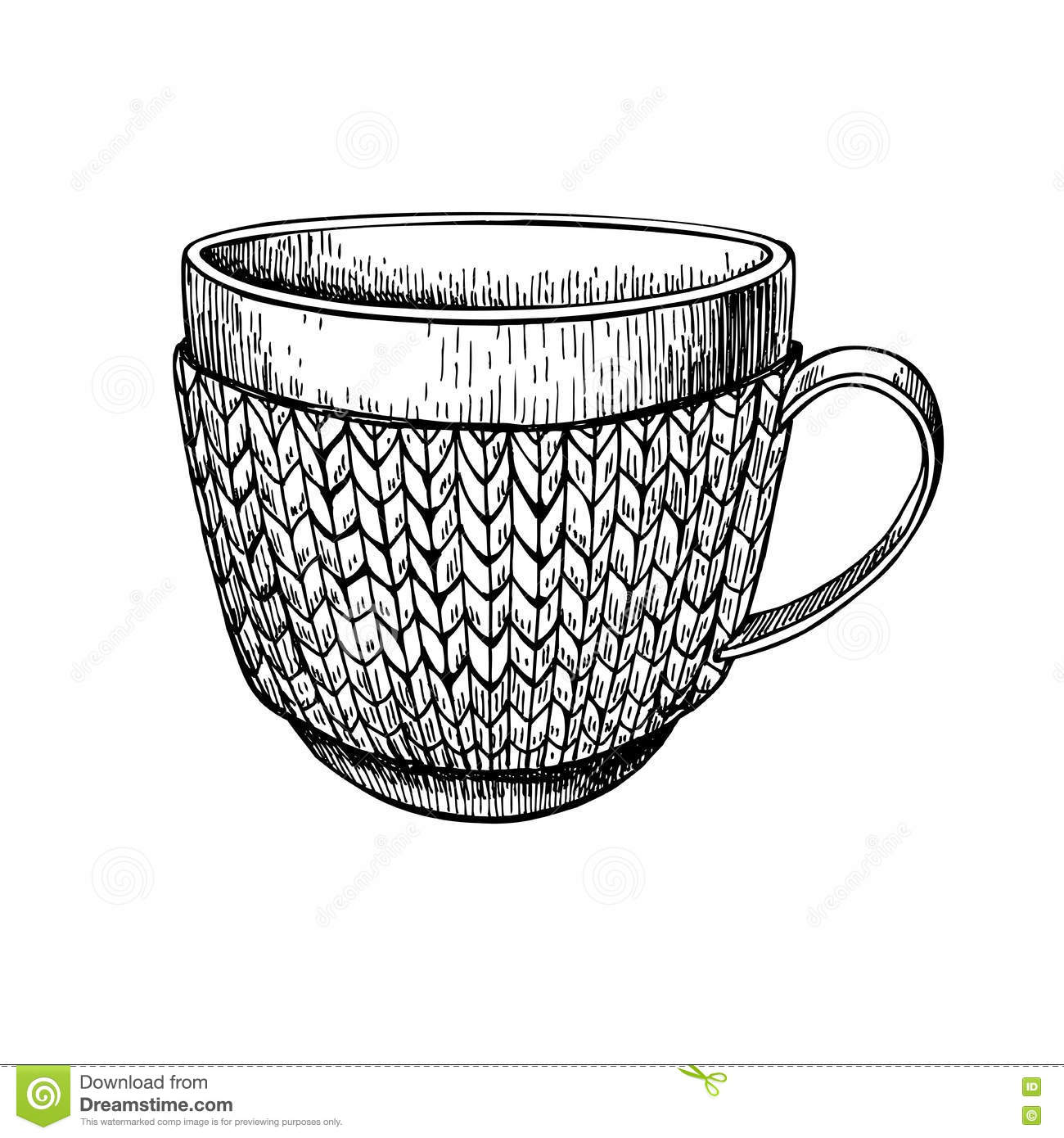 Cup In Knitted Cozy Sweater. Hand Drawn Illustration