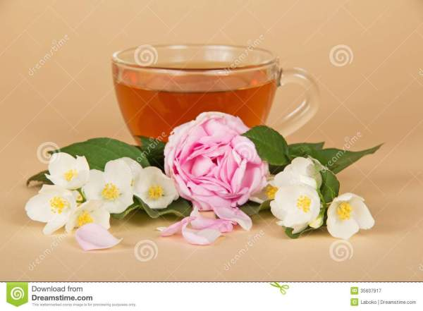 Cup With Tea Branches Of Jasmine And Rose Stock Image
