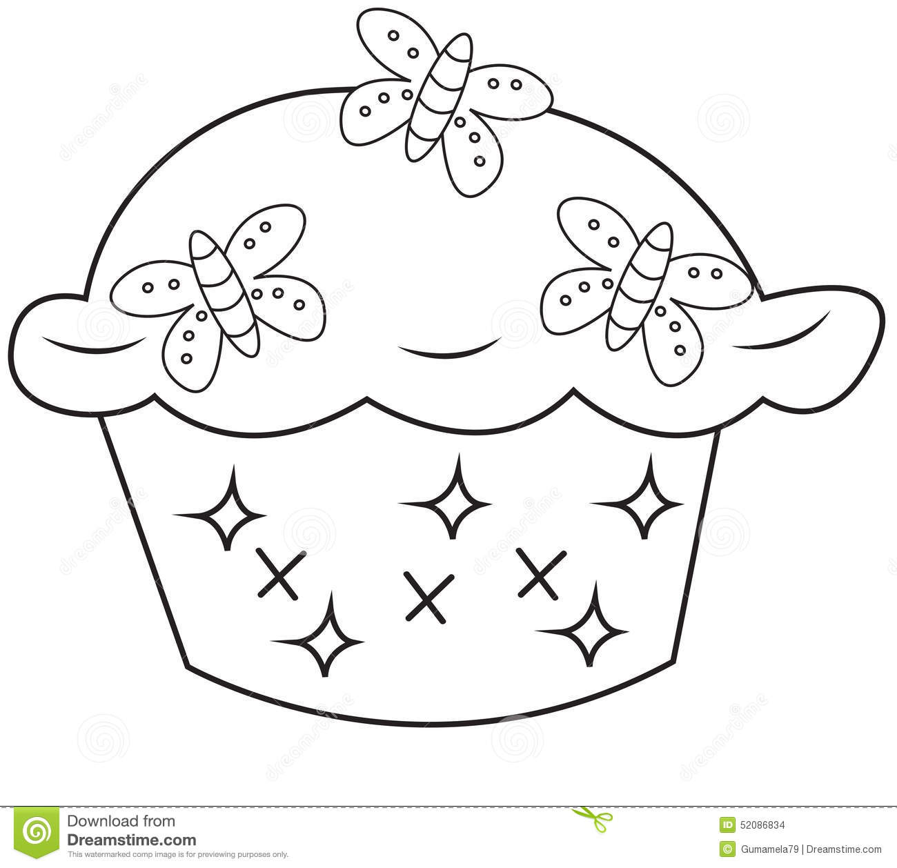 Cupcake coloring page stock illustration. Illustration of