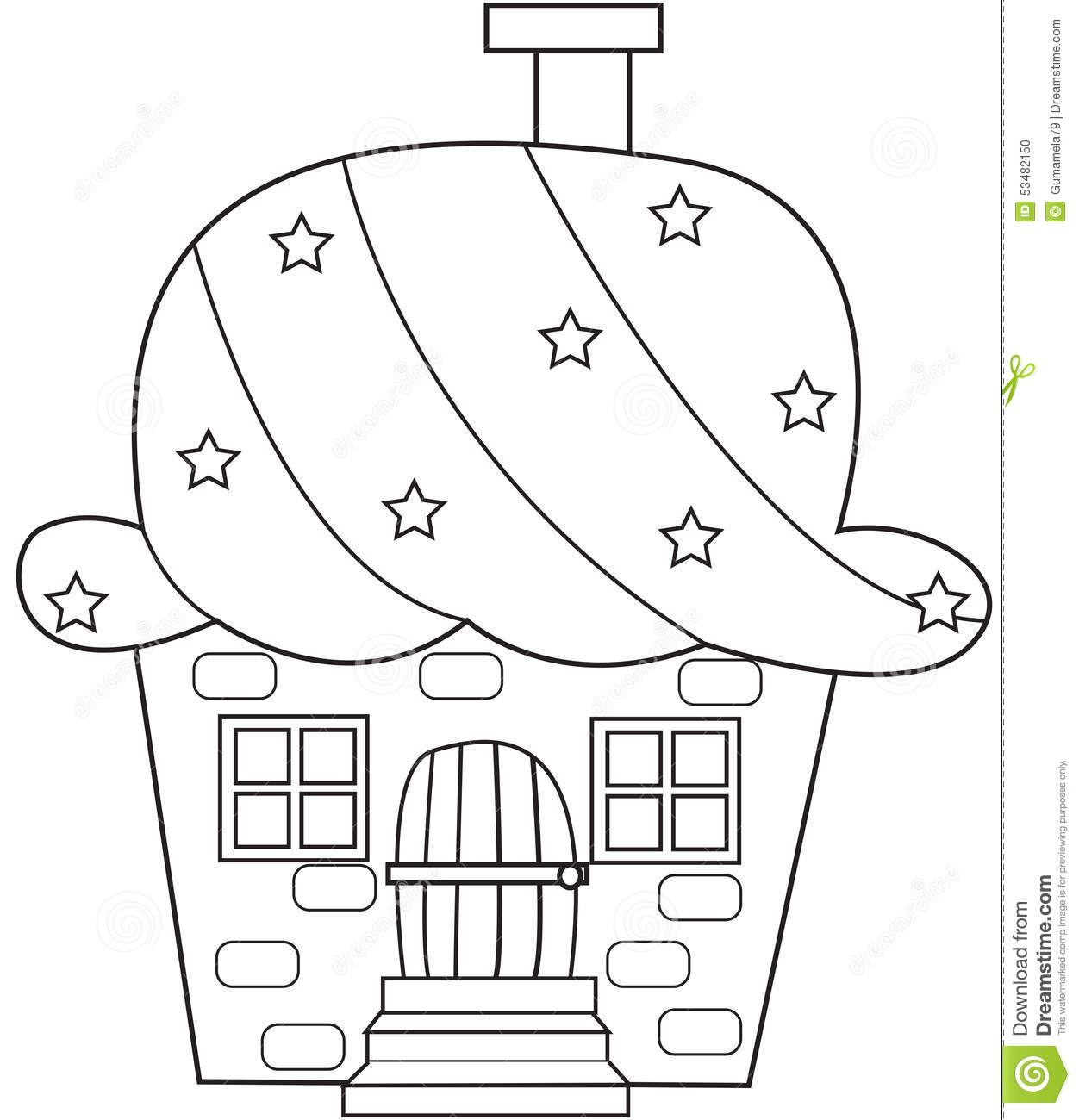 Cupcake House Coloring Page Stock Illustration